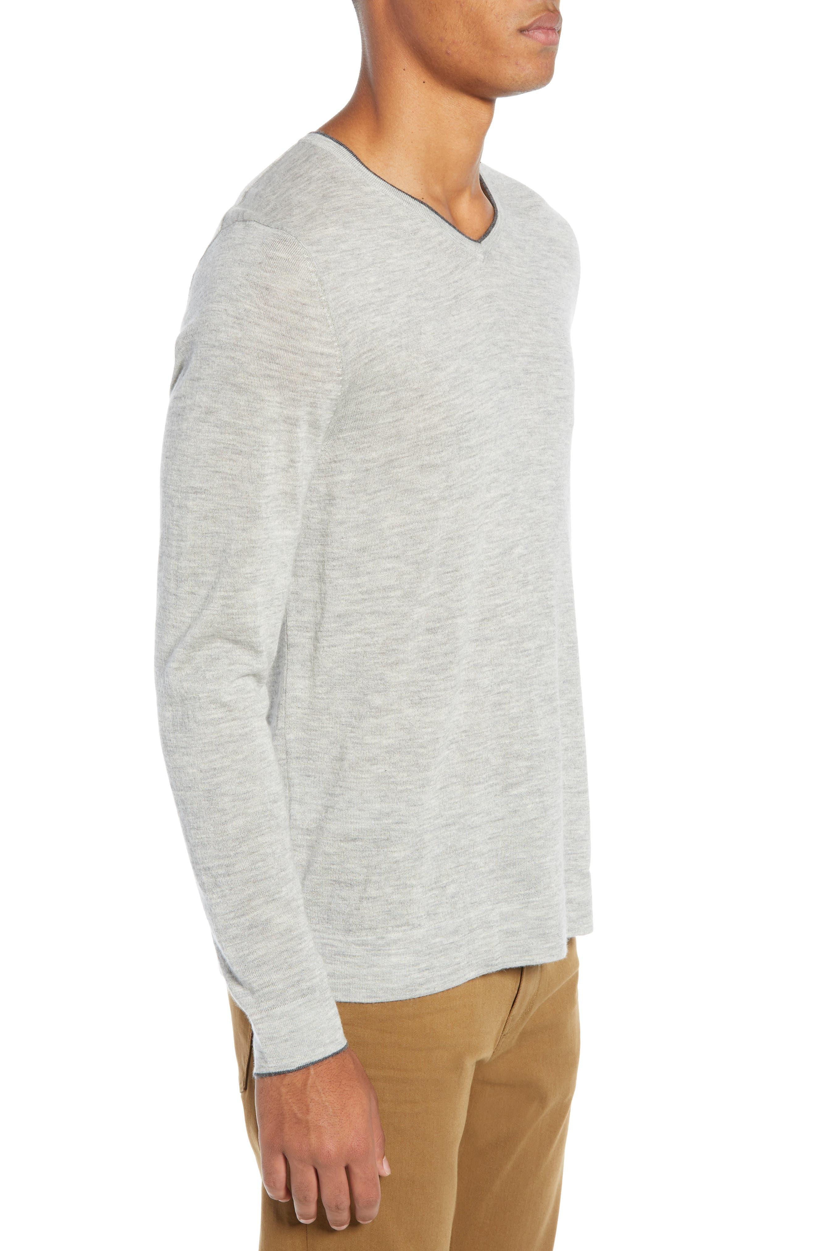 NORDSTROM SIGNATURE,                             Cashmere V-Neck Sweater,                             Alternate thumbnail 3, color,                             050