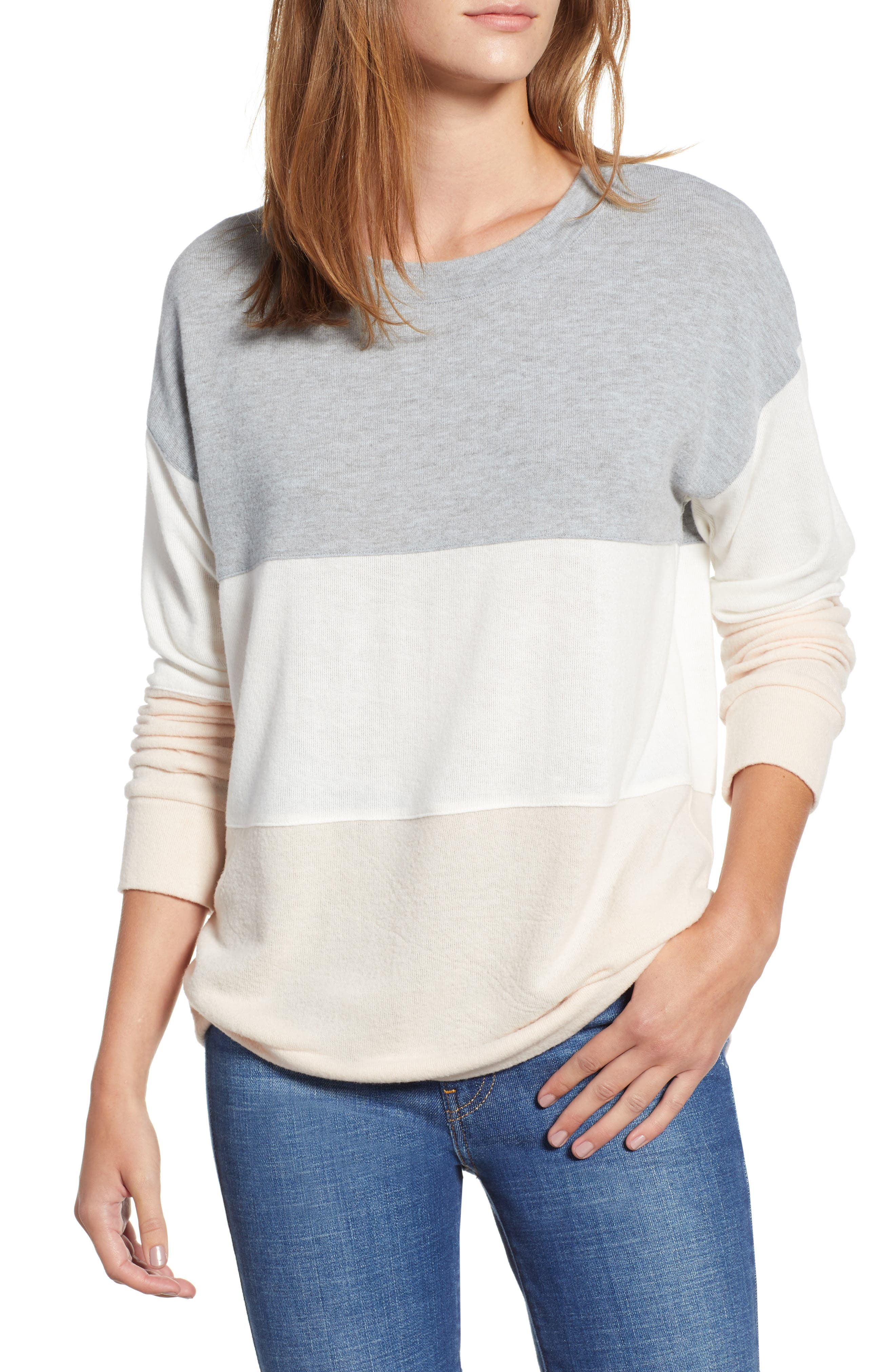 Colorblock Sweatshirt,                         Main,                         color, GREY/ WHITE/ PINK