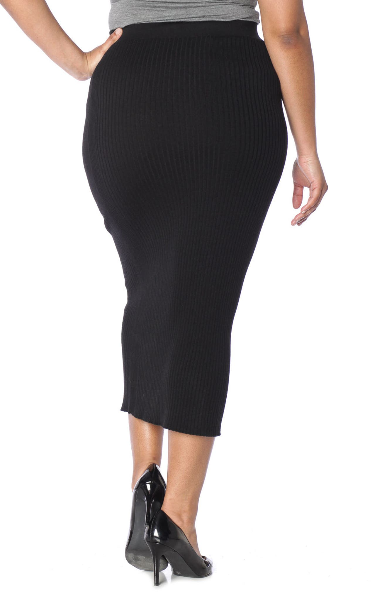 Midi Tube Skirt,                             Alternate thumbnail 2, color,                             BLACK