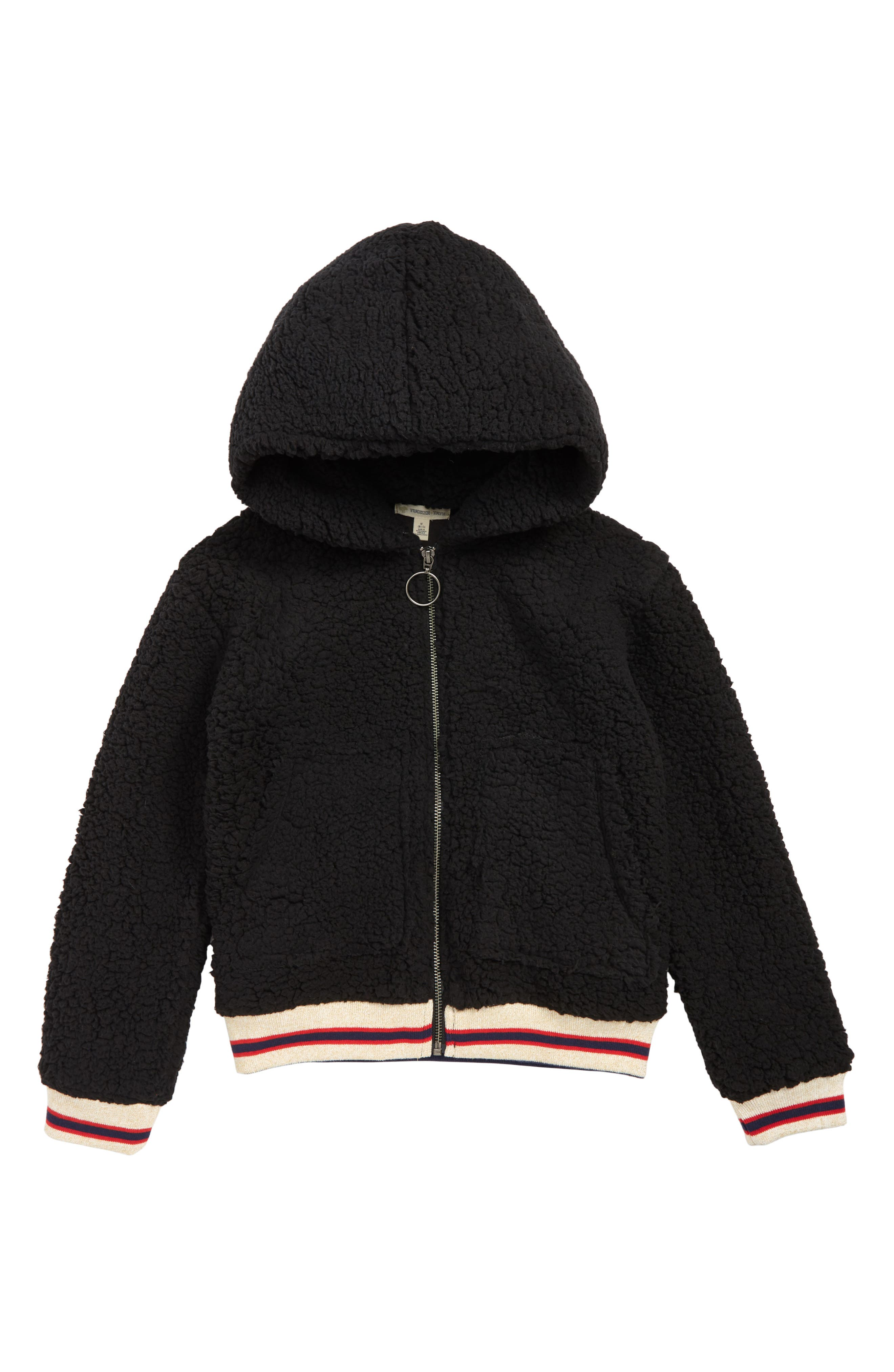 Cozy Faux Shearling Hooded Varsity Jacket,                             Main thumbnail 1, color,                             BLACK