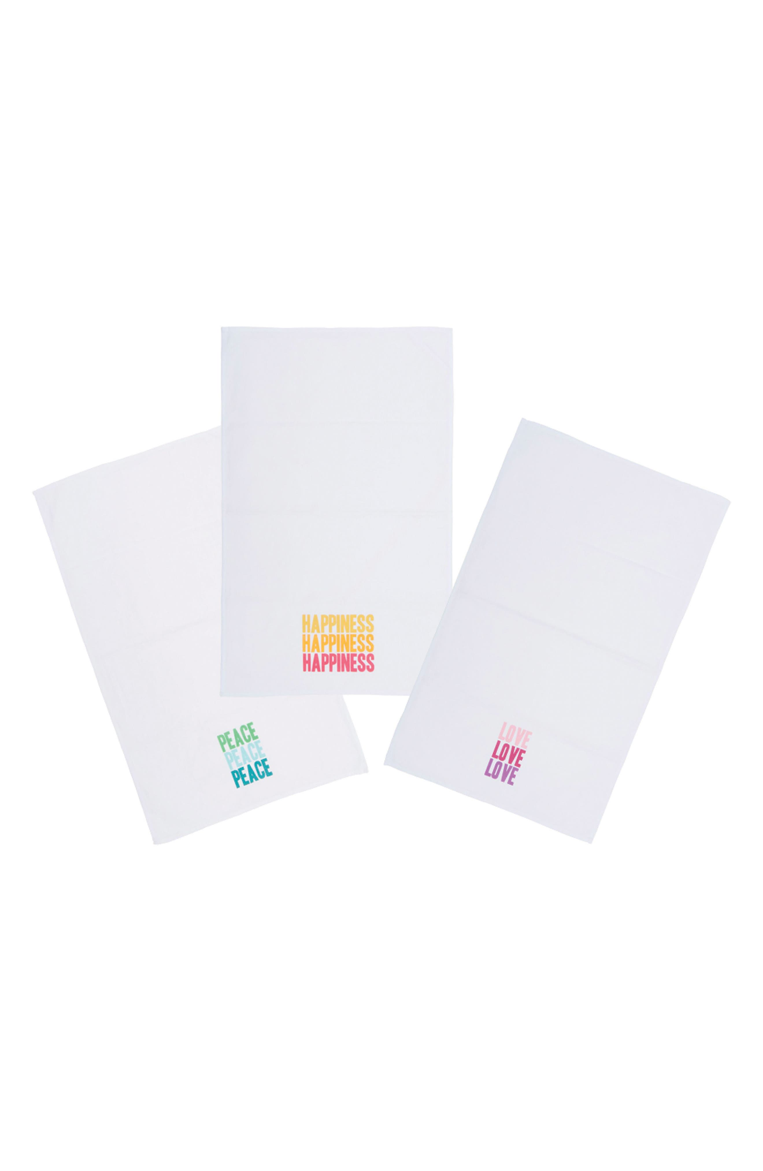 Peace Love Happiness Set of 3 Tea Towels,                         Main,                         color, 100