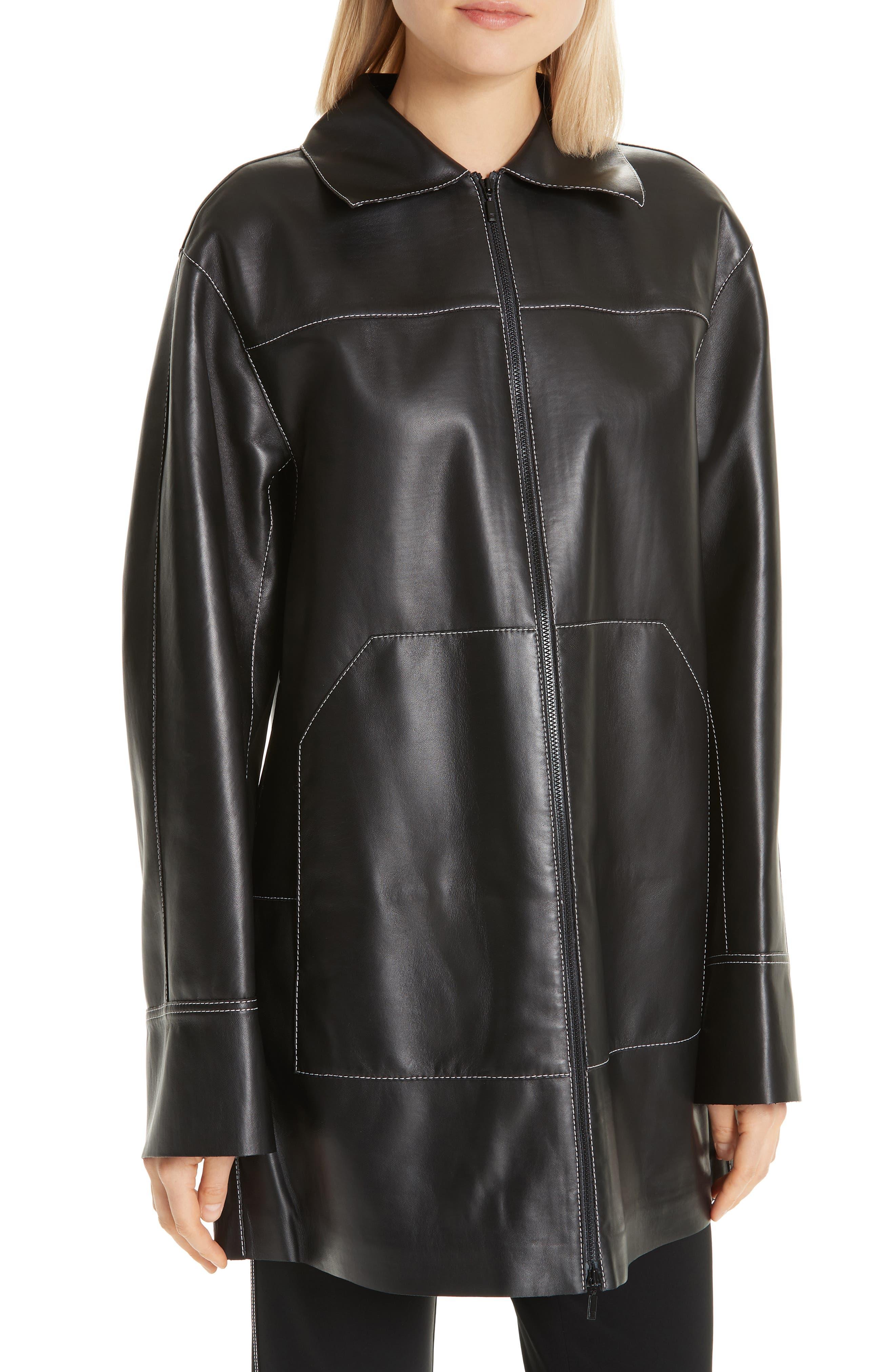 Christopher Leather Jacket,                             Alternate thumbnail 4, color,                             BLACK
