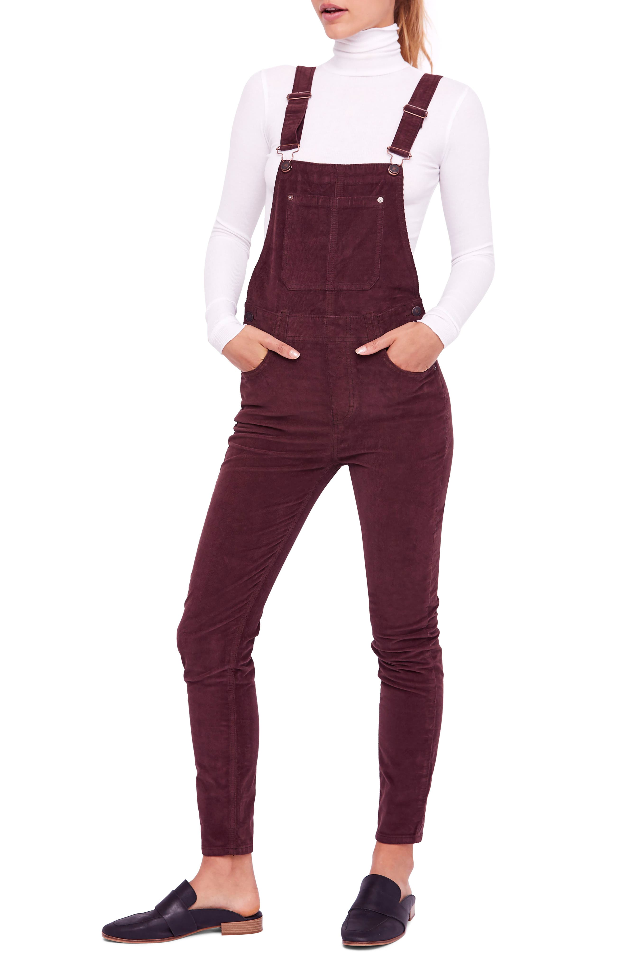 Slim Ankle Corduroy Overalls,                         Main,                         color, 210