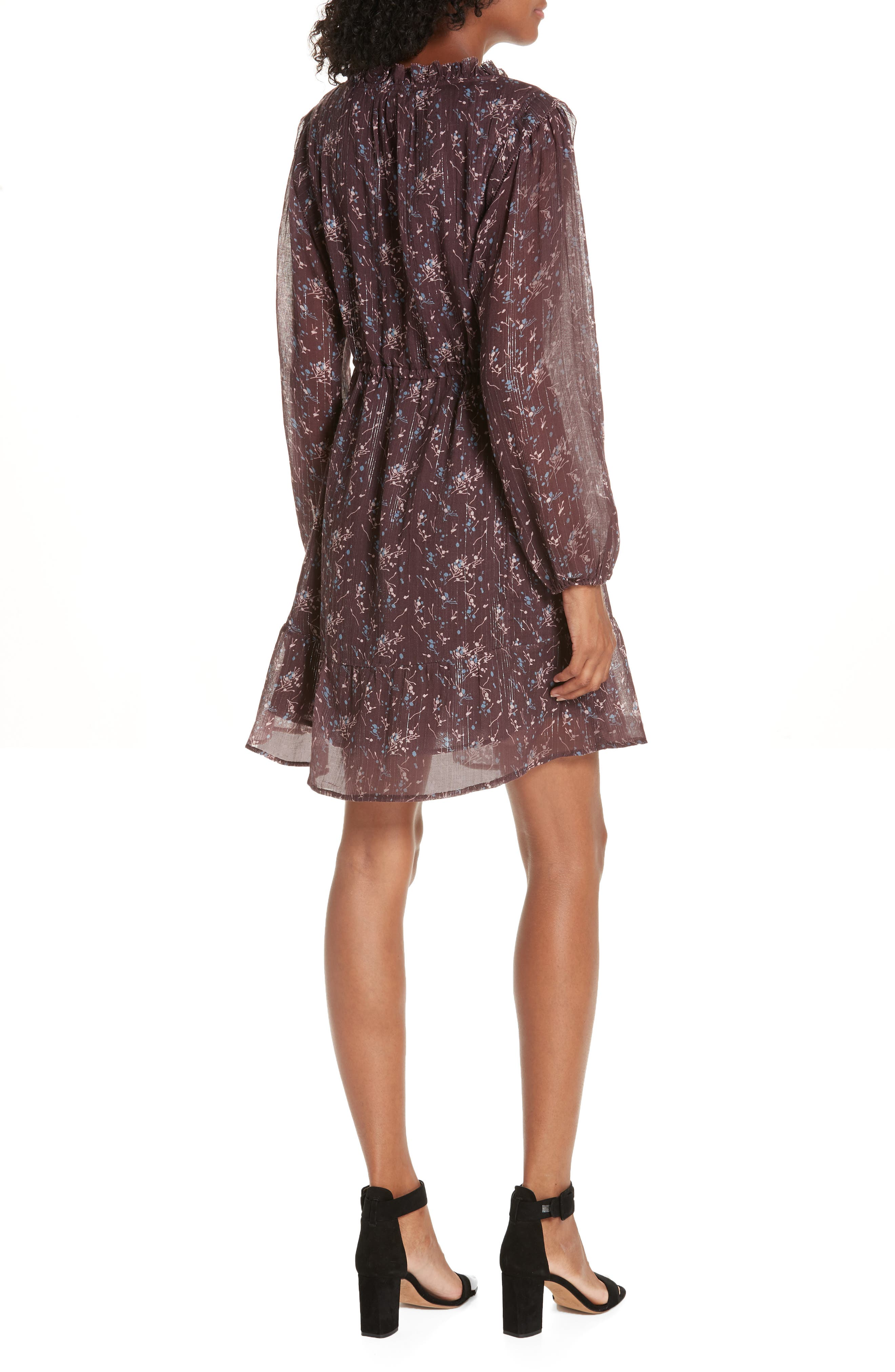 Ruffled Drawstring Waist Dress,                             Alternate thumbnail 2, color,                             BROWN PLUM BLOSSOM