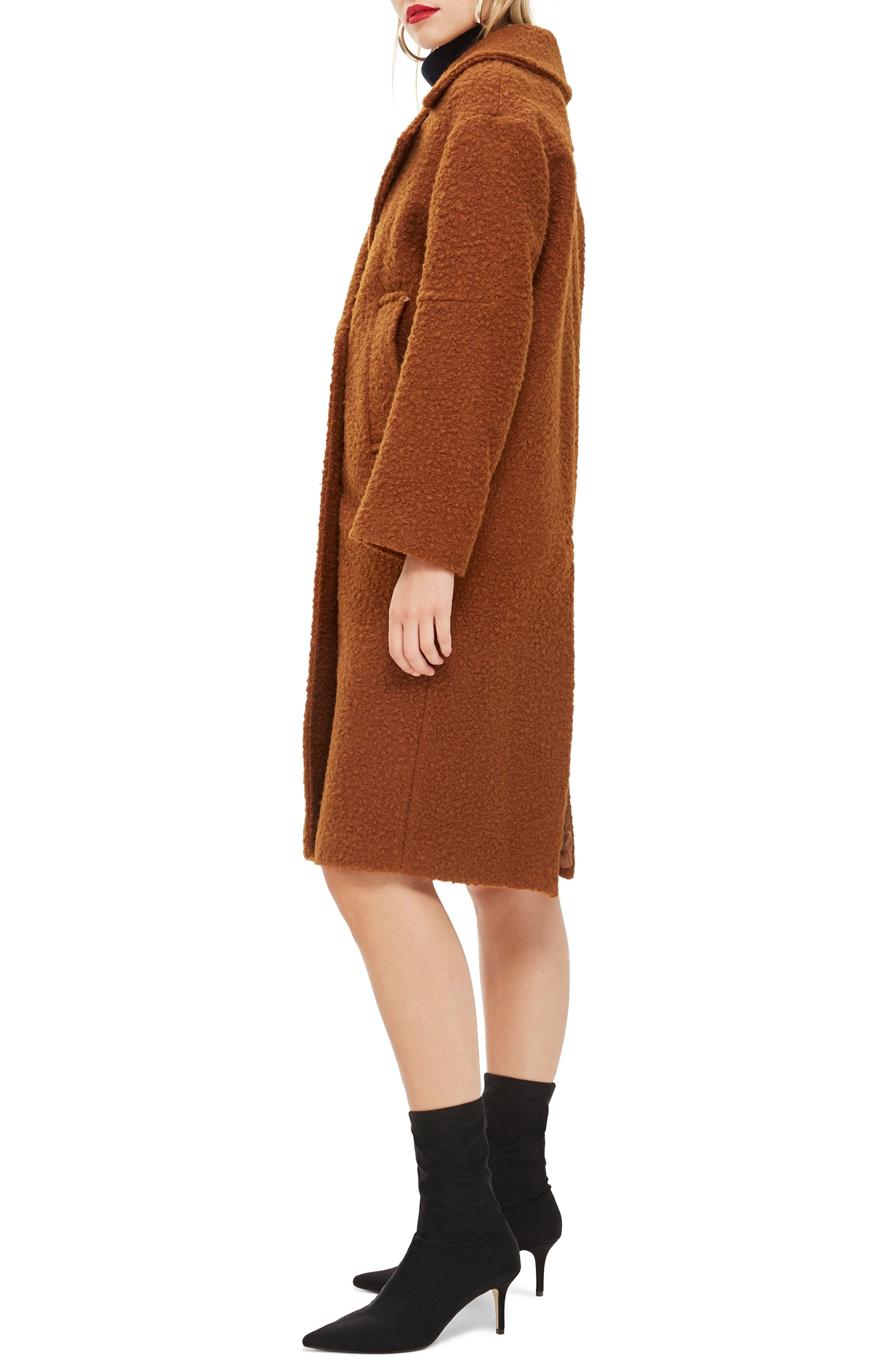 Bouclé Button Front Coat,                             Alternate thumbnail 3, color,                             BROWN
