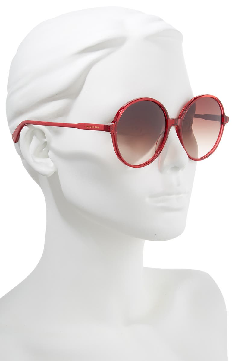 c72bacd602 Longchamp 49Mm Gradient Round Sunglasses - Cherry  Red