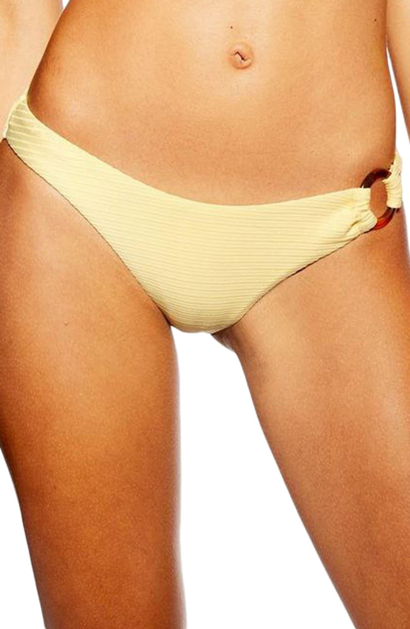 Tortoise Ring Ribbed Bikini Bottoms, Main, color, YELLOW