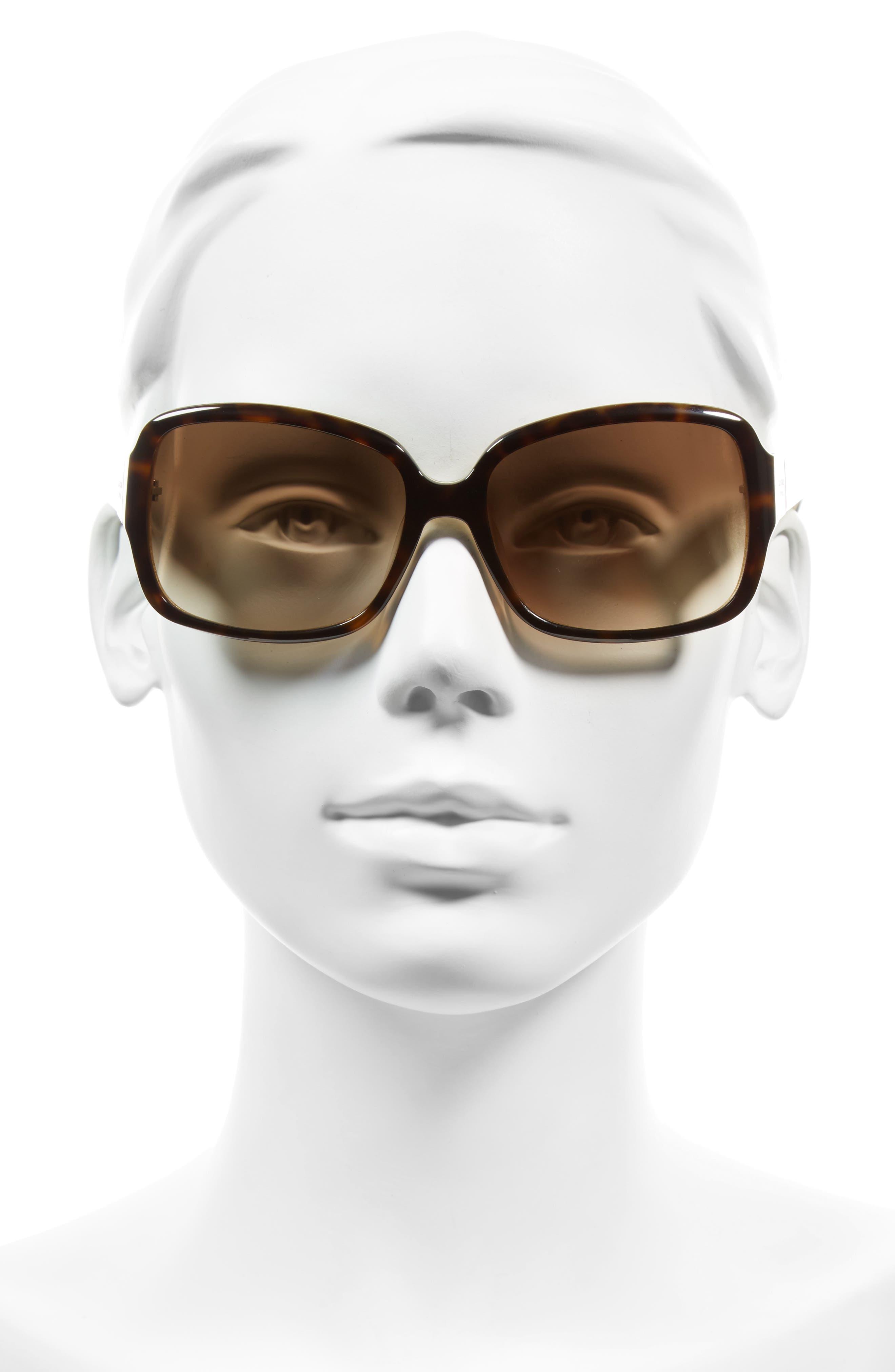 'lulu' 55mm rectangular sunglasses,                             Alternate thumbnail 3, color,                             TORTOISE/ GOLD