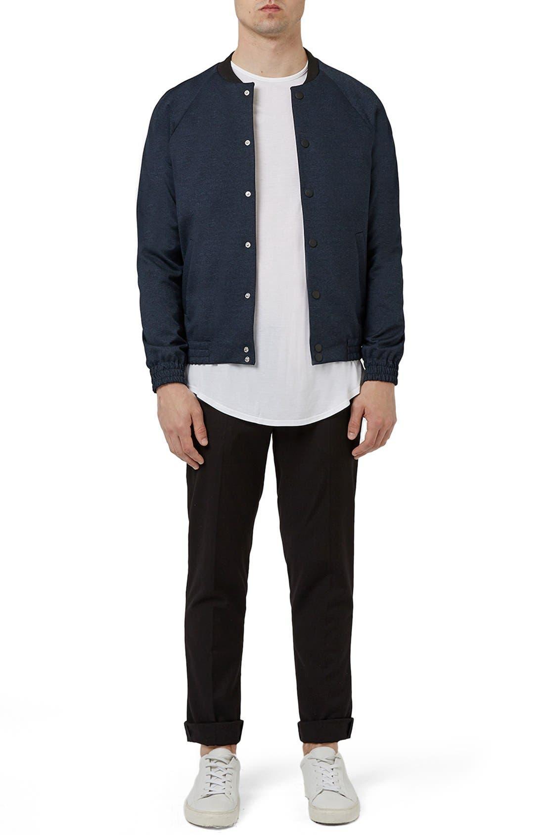 TOPMAN,                             Tailored Fit Raglan Bomber Jacket,                             Alternate thumbnail 5, color,                             410