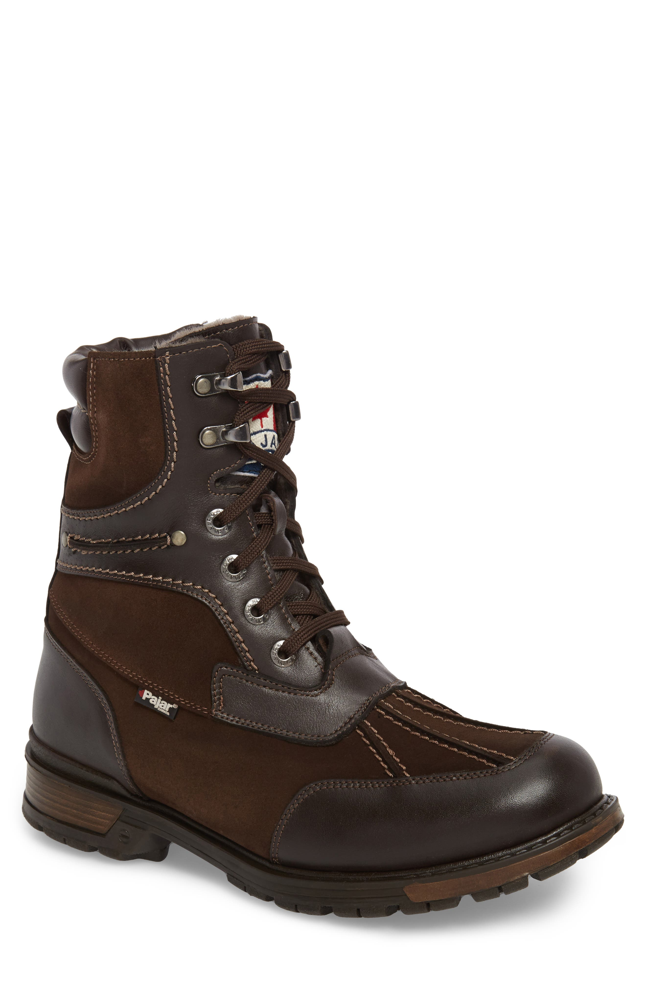 'Carrefour' Snow Boot,                             Main thumbnail 1, color,                             DARK BROWN LEATHER