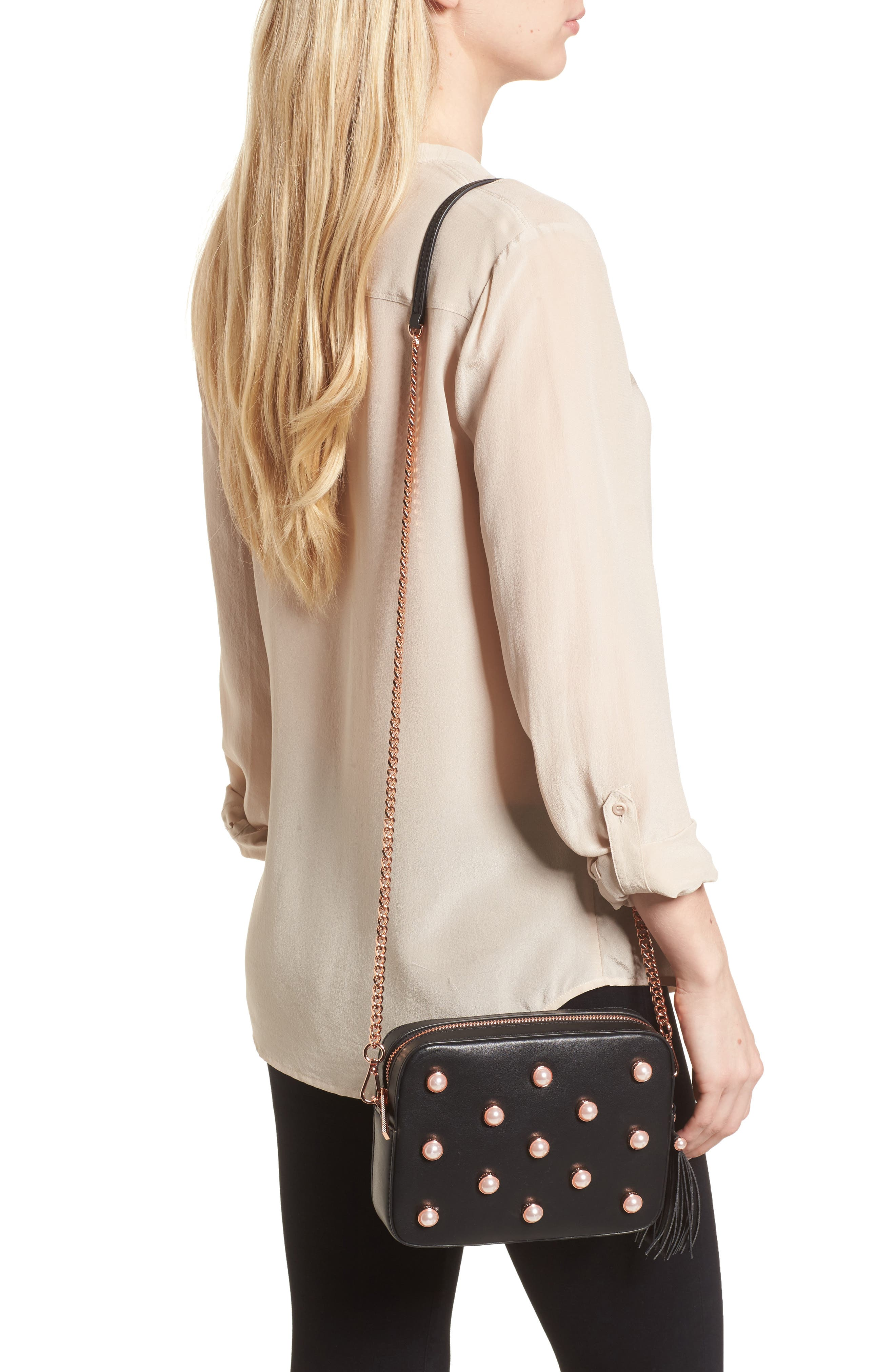 Alessia Imitation Pearl Embellished Leather Crossbody,                             Alternate thumbnail 2, color,                             001