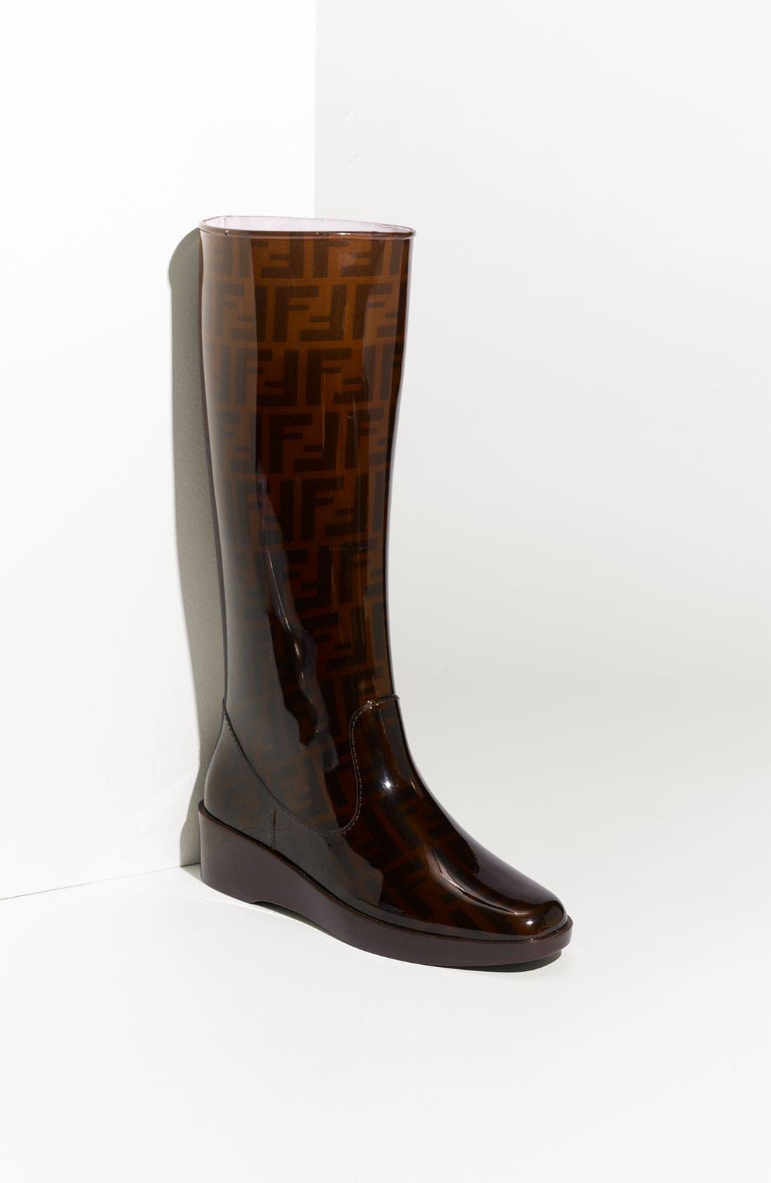 FENDI 'Zucca' Rain Boot, Main, color, 201