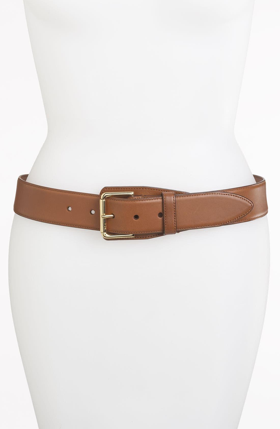LAUREN RALPH LAUREN Vachetta Leather Belt, Main, color, 250