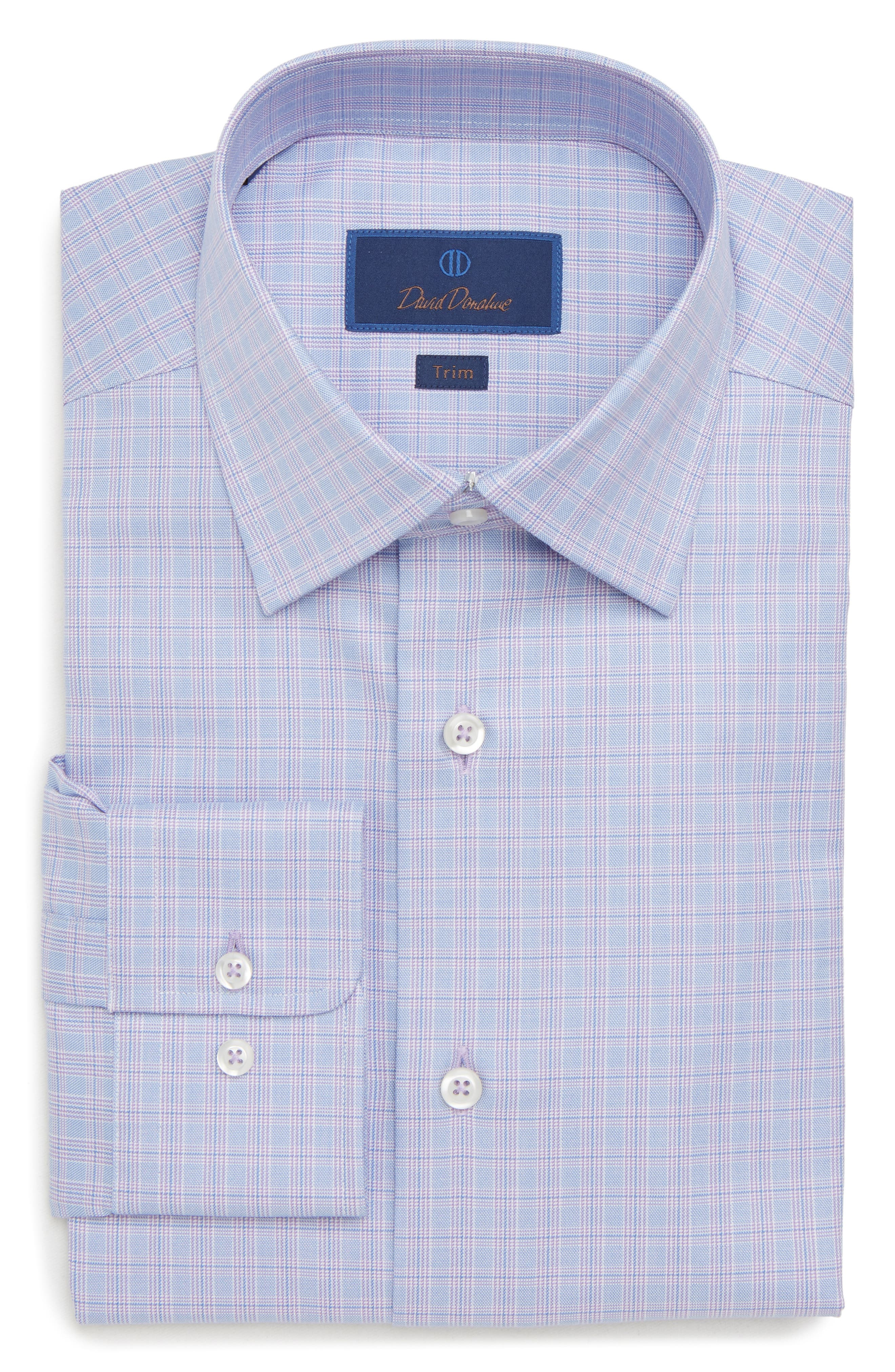 Trim Fit Plaid Dress Shirt,                             Alternate thumbnail 5, color,                             LILAC