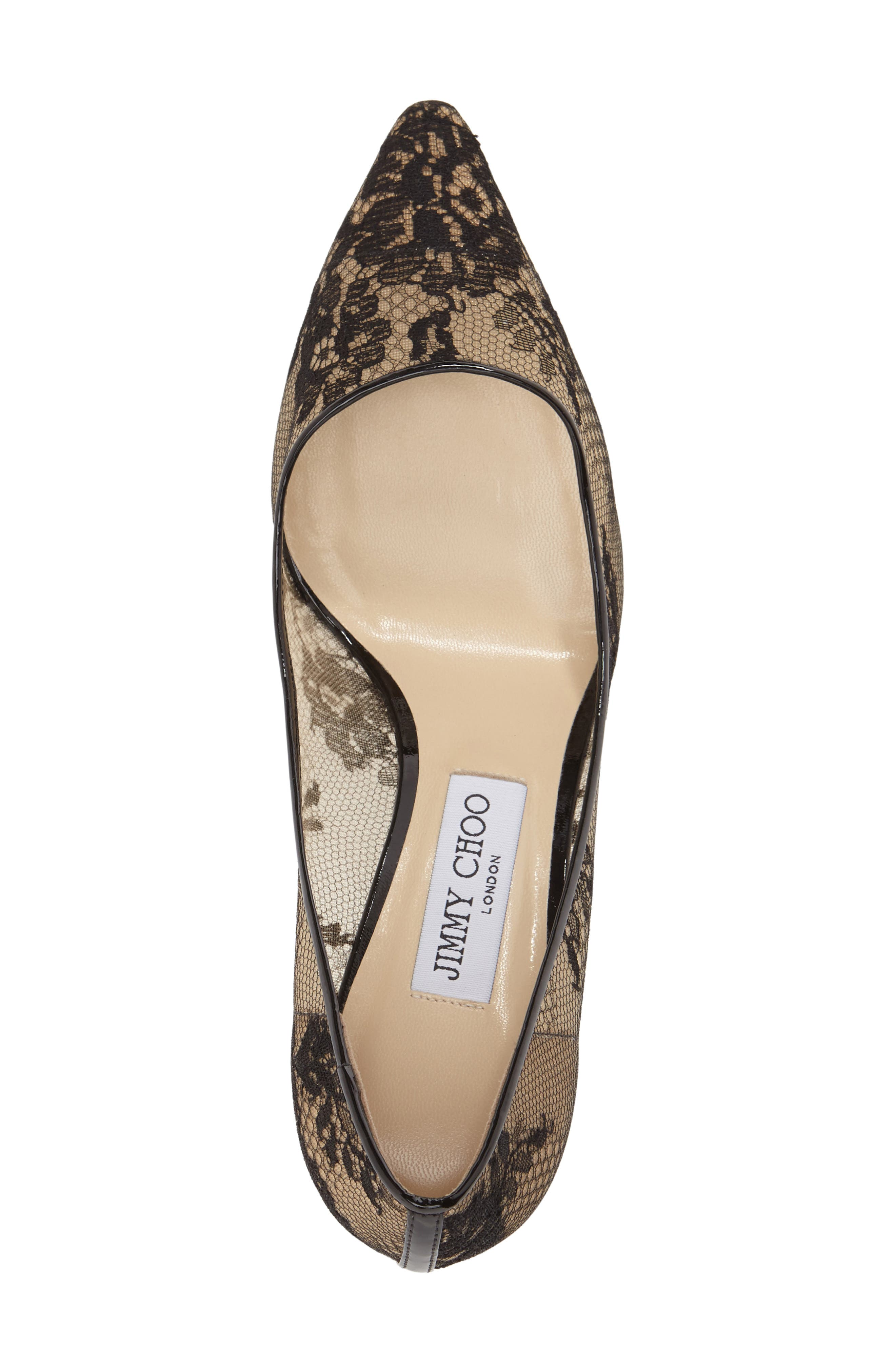 JIMMY CHOO,                             'Romy' Lace Pointy Toe Pump,                             Alternate thumbnail 6, color,                             002