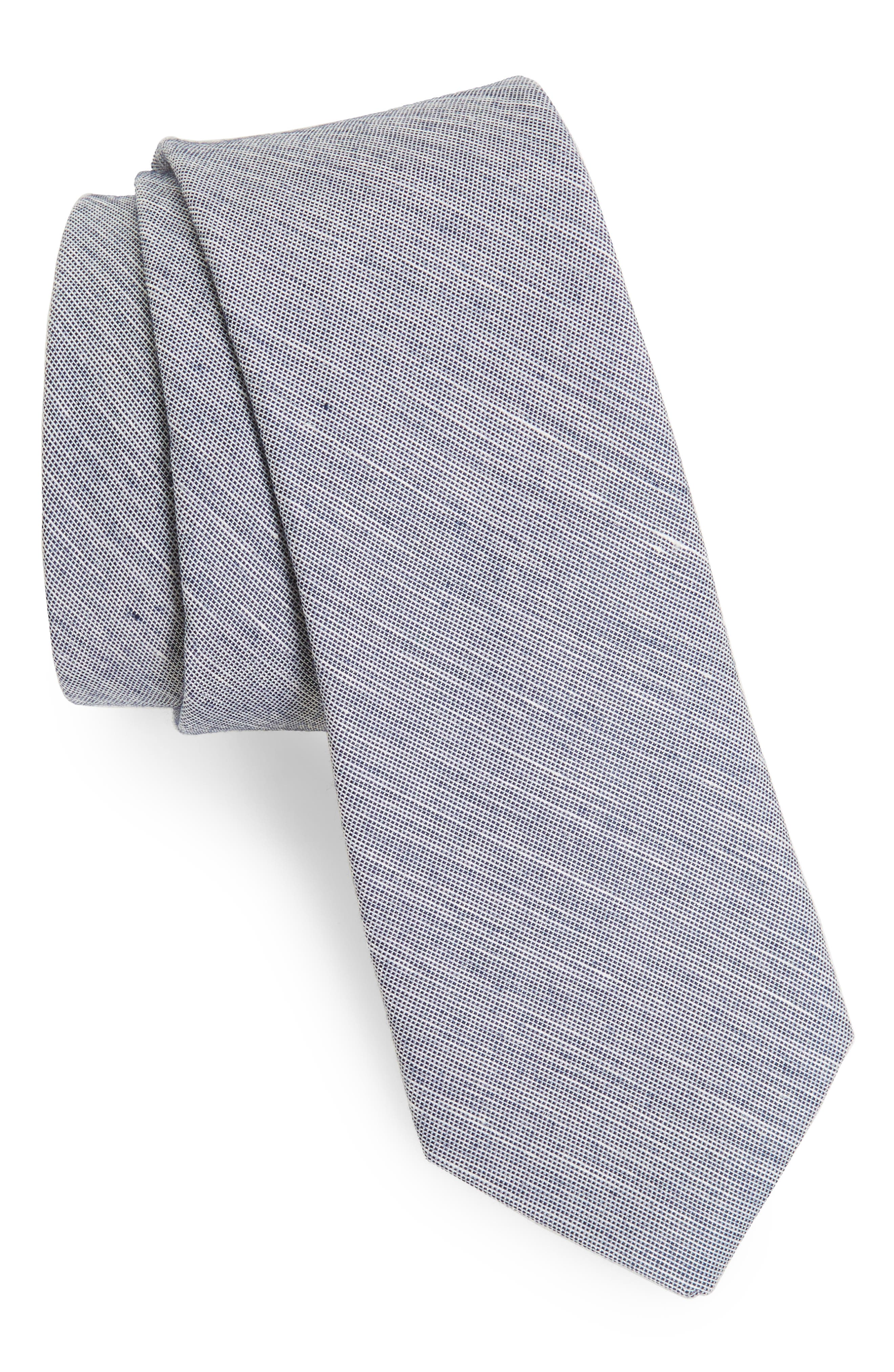 Adena Solid Silk Blend Skinny Tie,                             Main thumbnail 4, color,