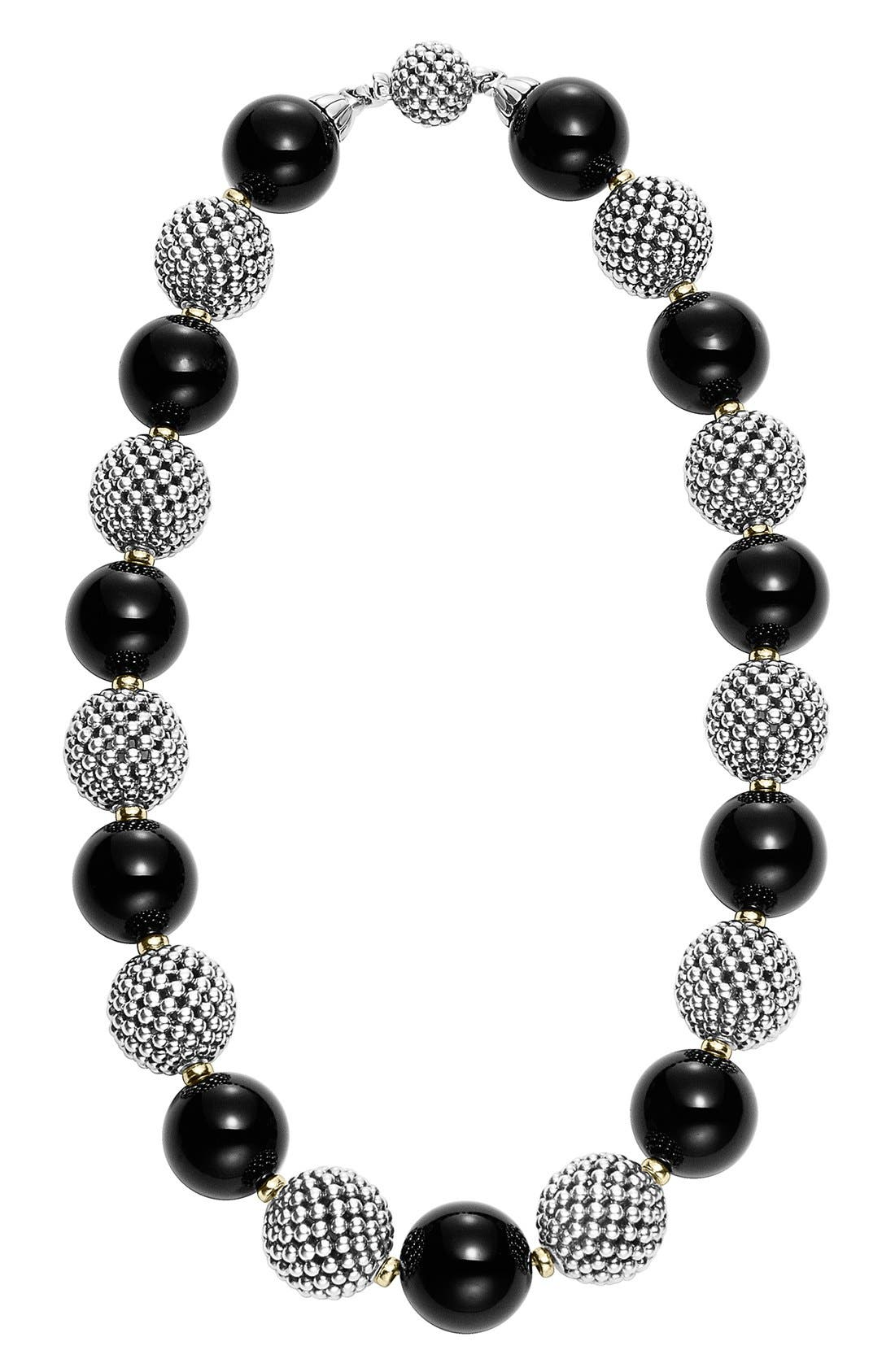 'Black Caviar' Beaded Necklace,                         Main,                         color, 040