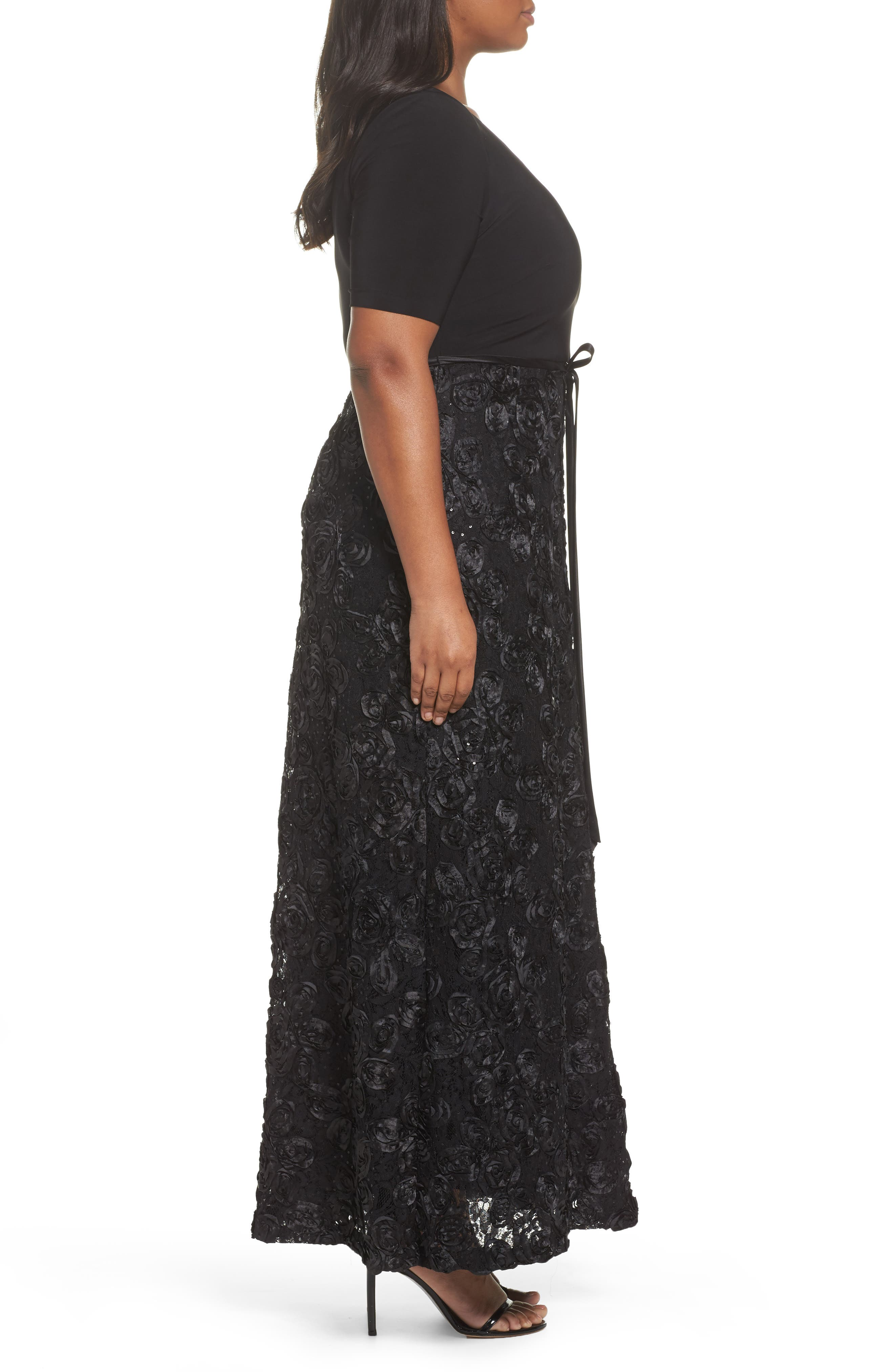 Tie-Waist A-Line Gown with Satin Rosette Skirt,                             Alternate thumbnail 3, color,