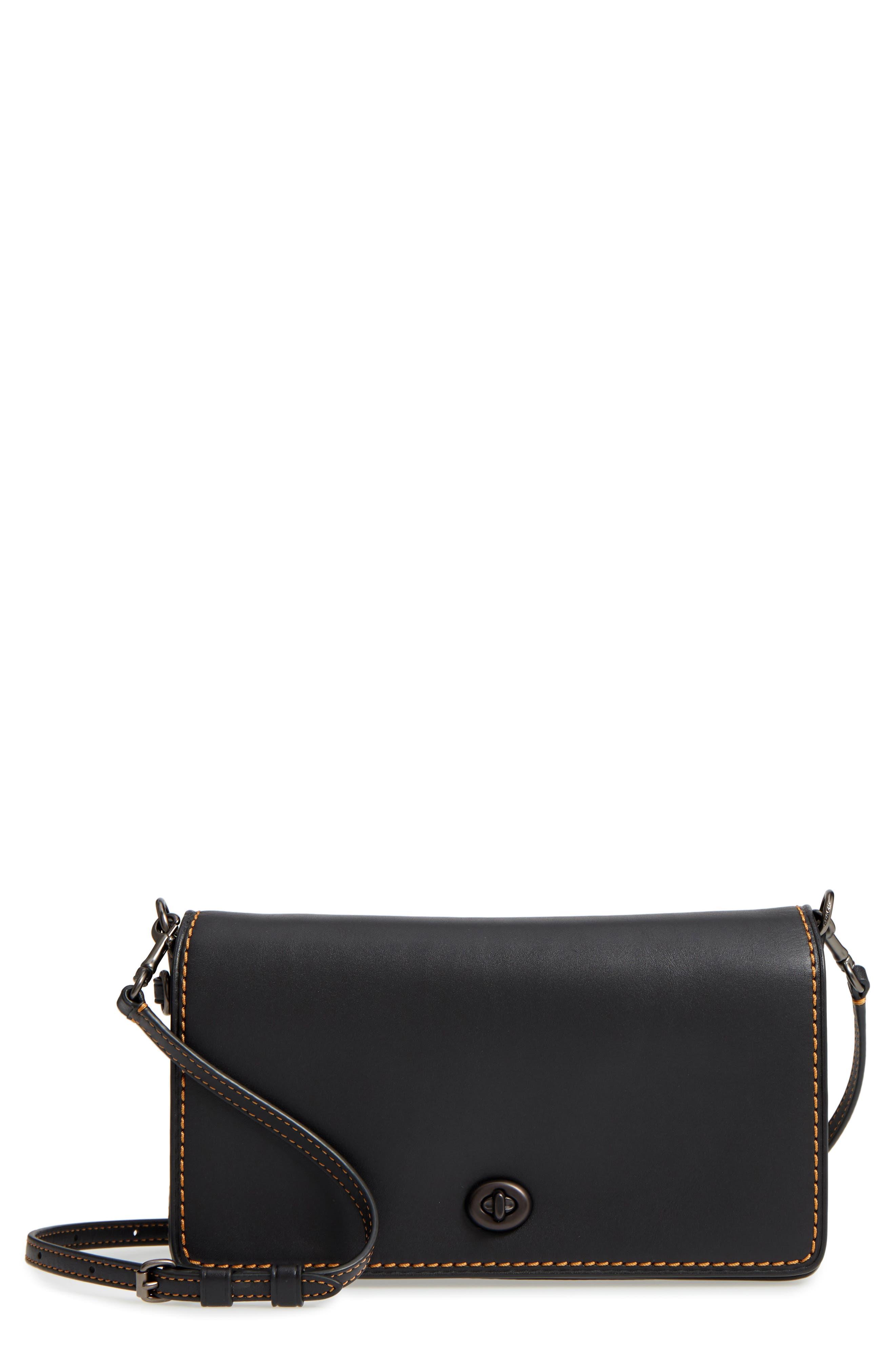 Dinky Crossbody Leather Bag,                         Main,                         color, BLACK HONEY