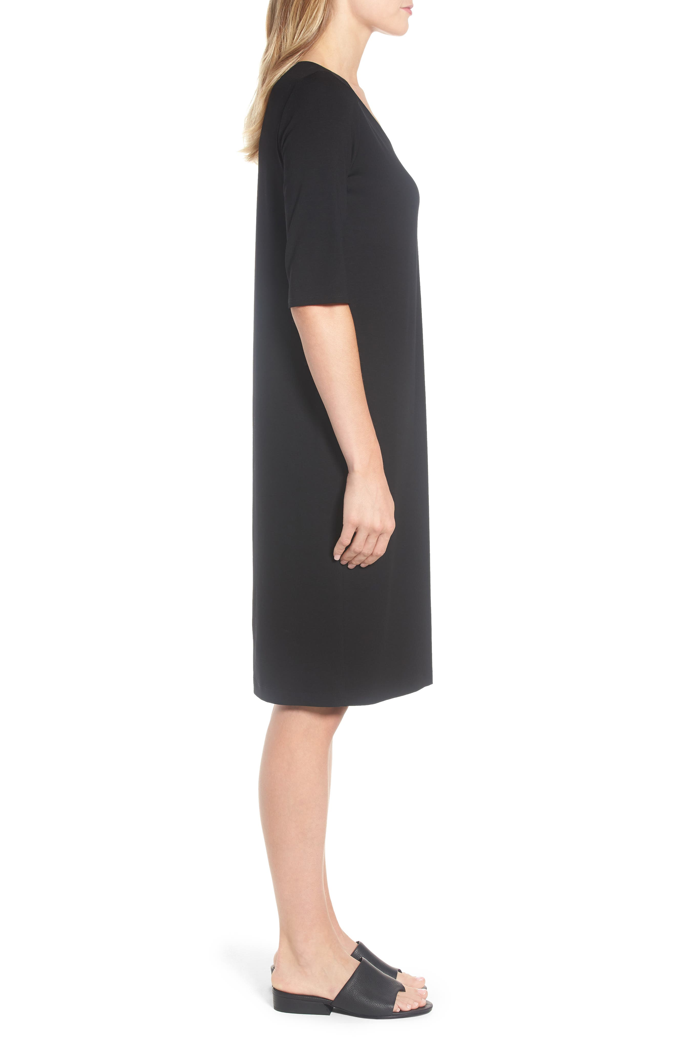 Stretch Jersey Shift Dress,                             Alternate thumbnail 3, color,                             001