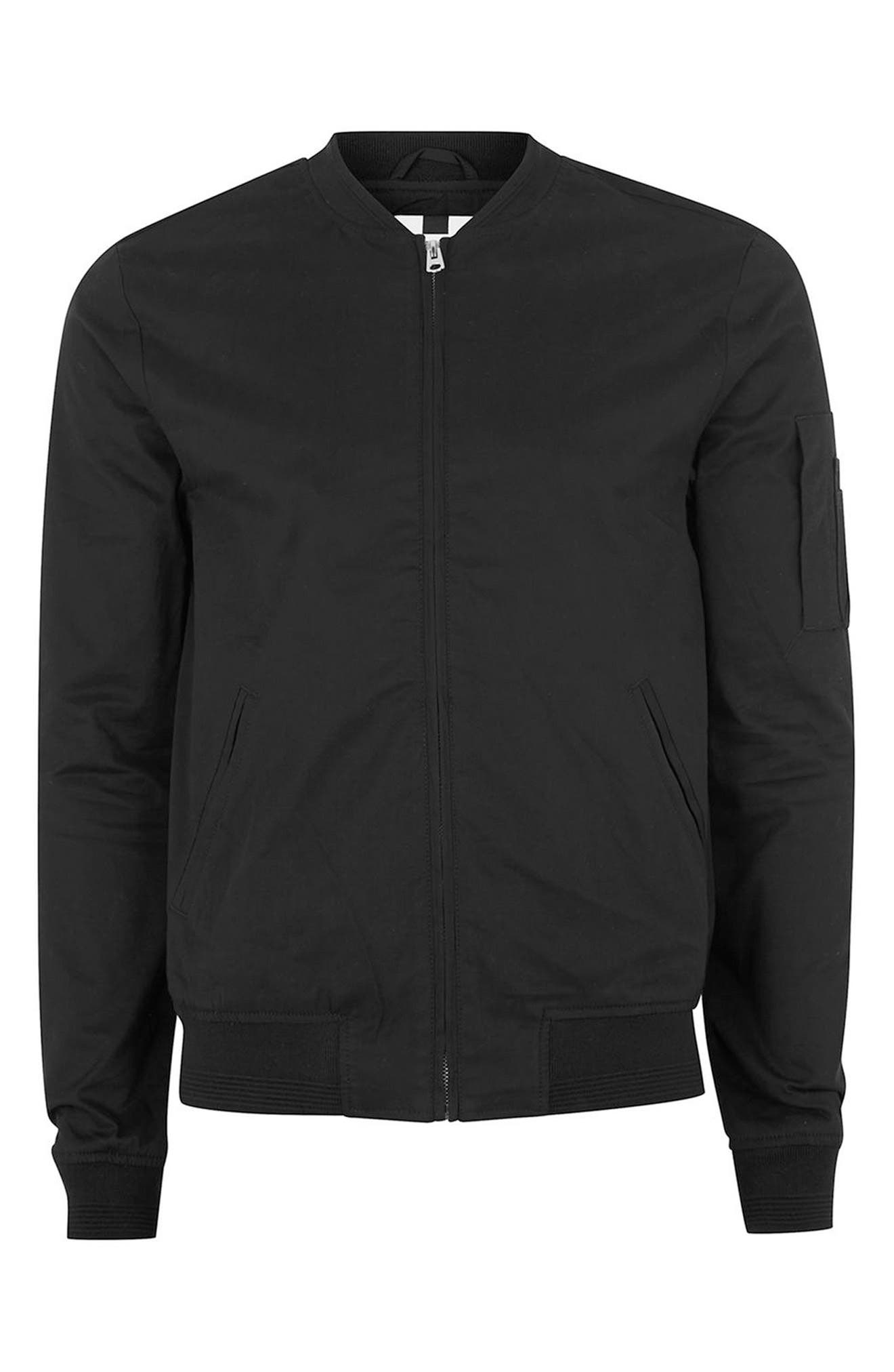 Muscle Fit Bomber Jacket,                             Alternate thumbnail 4, color,                             001