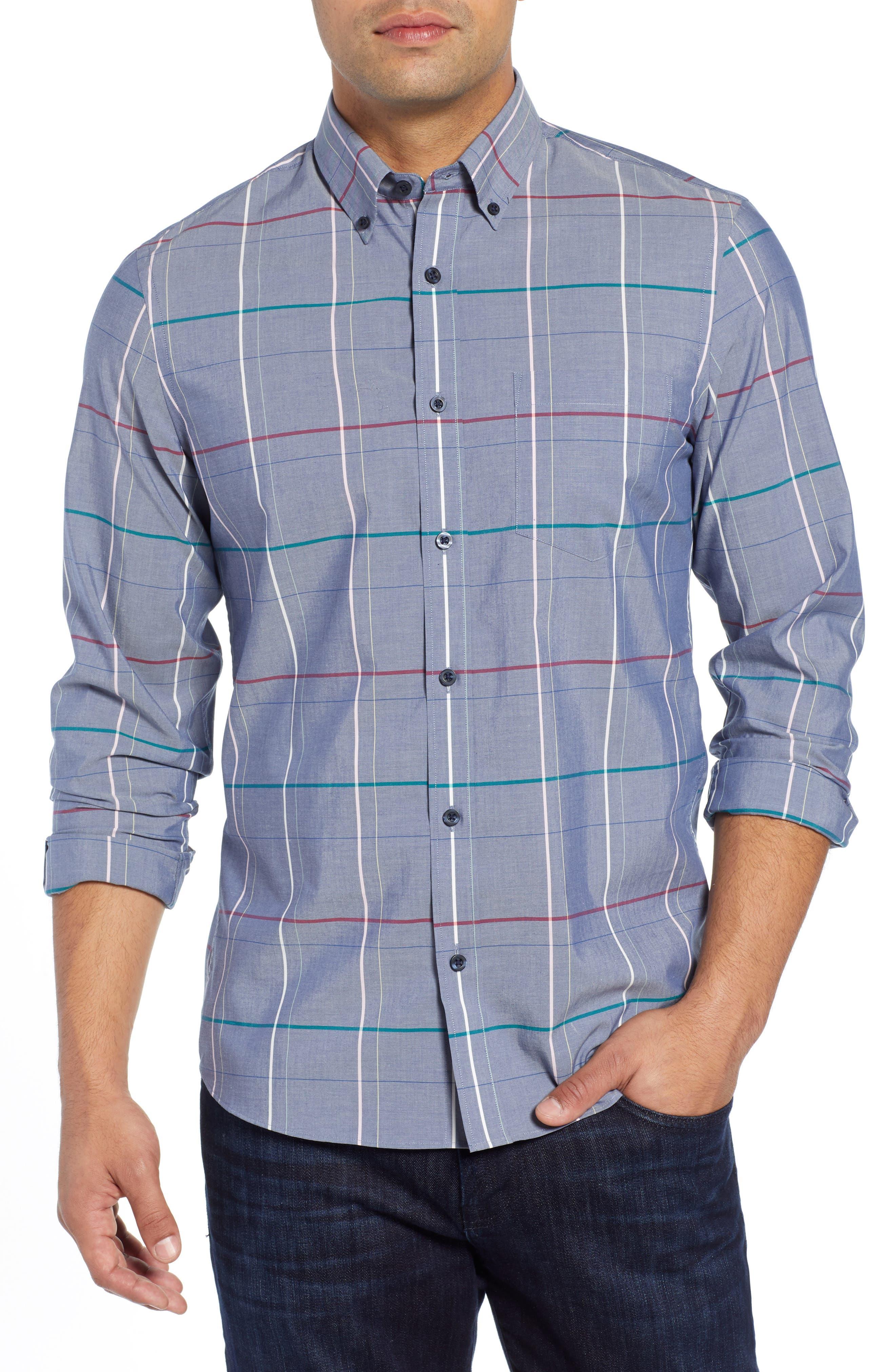 Tech-Smart Slim Fit Multi Pane Sport Shirt,                             Main thumbnail 1, color,                             BLUE CHAMBRAY MULTI PANE