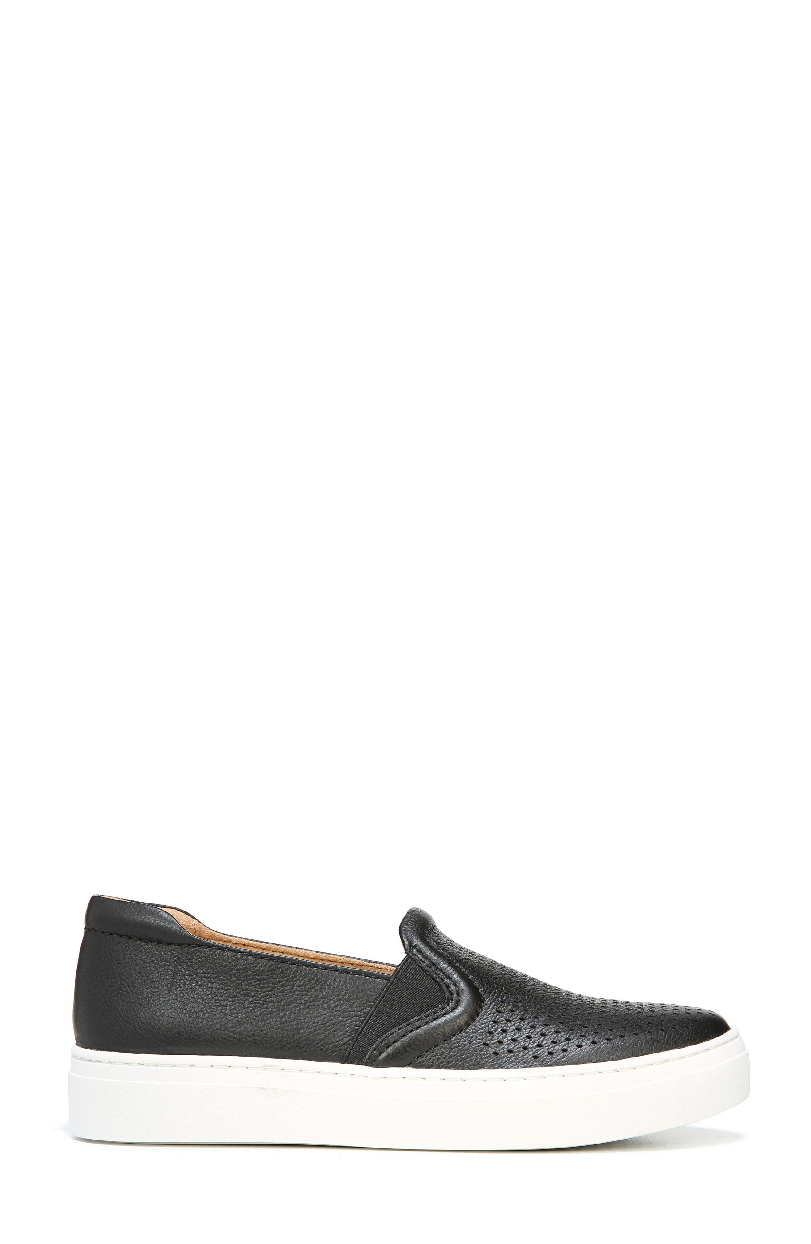 Carly Slip-On Sneaker,                             Alternate thumbnail 3, color,                             BLACK PEBBLED LEATHER