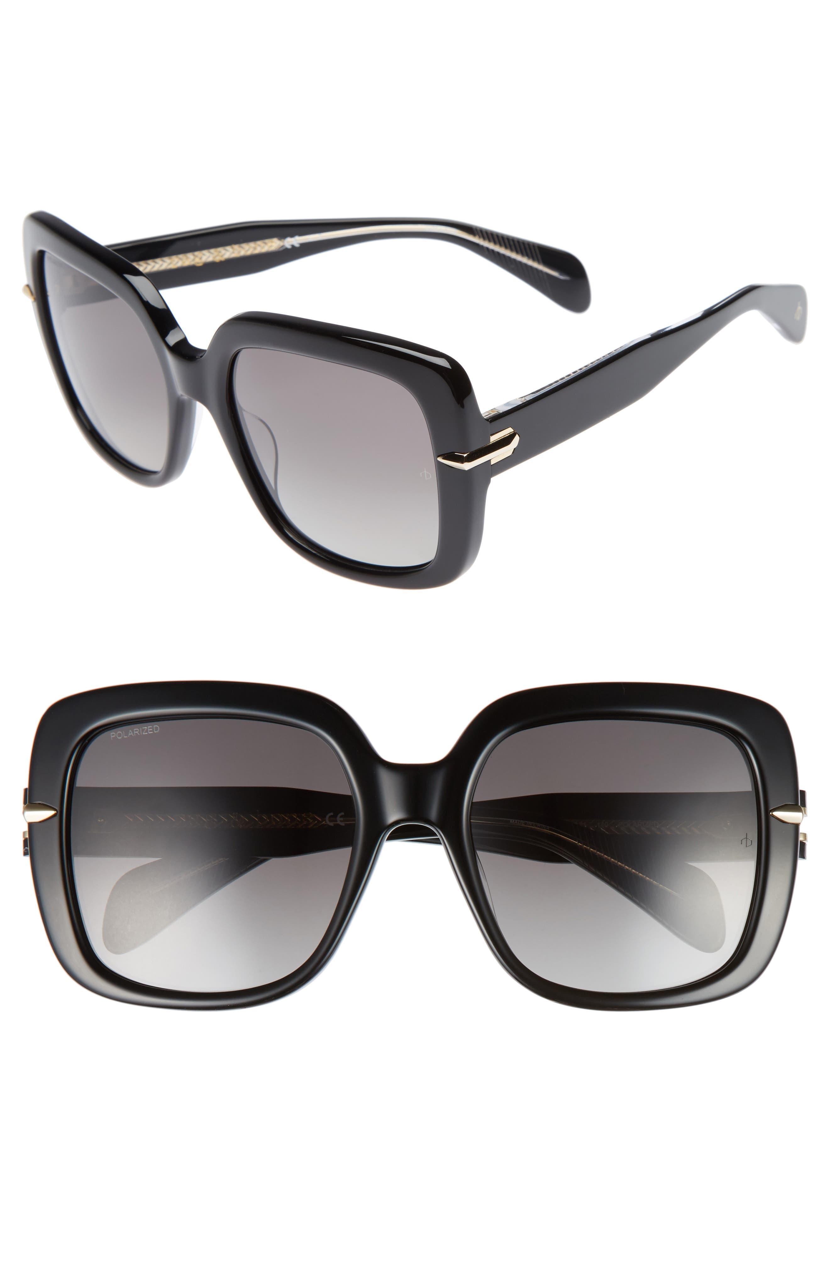 56mm Square Polarized Sunglasses,                             Main thumbnail 1, color,                             001