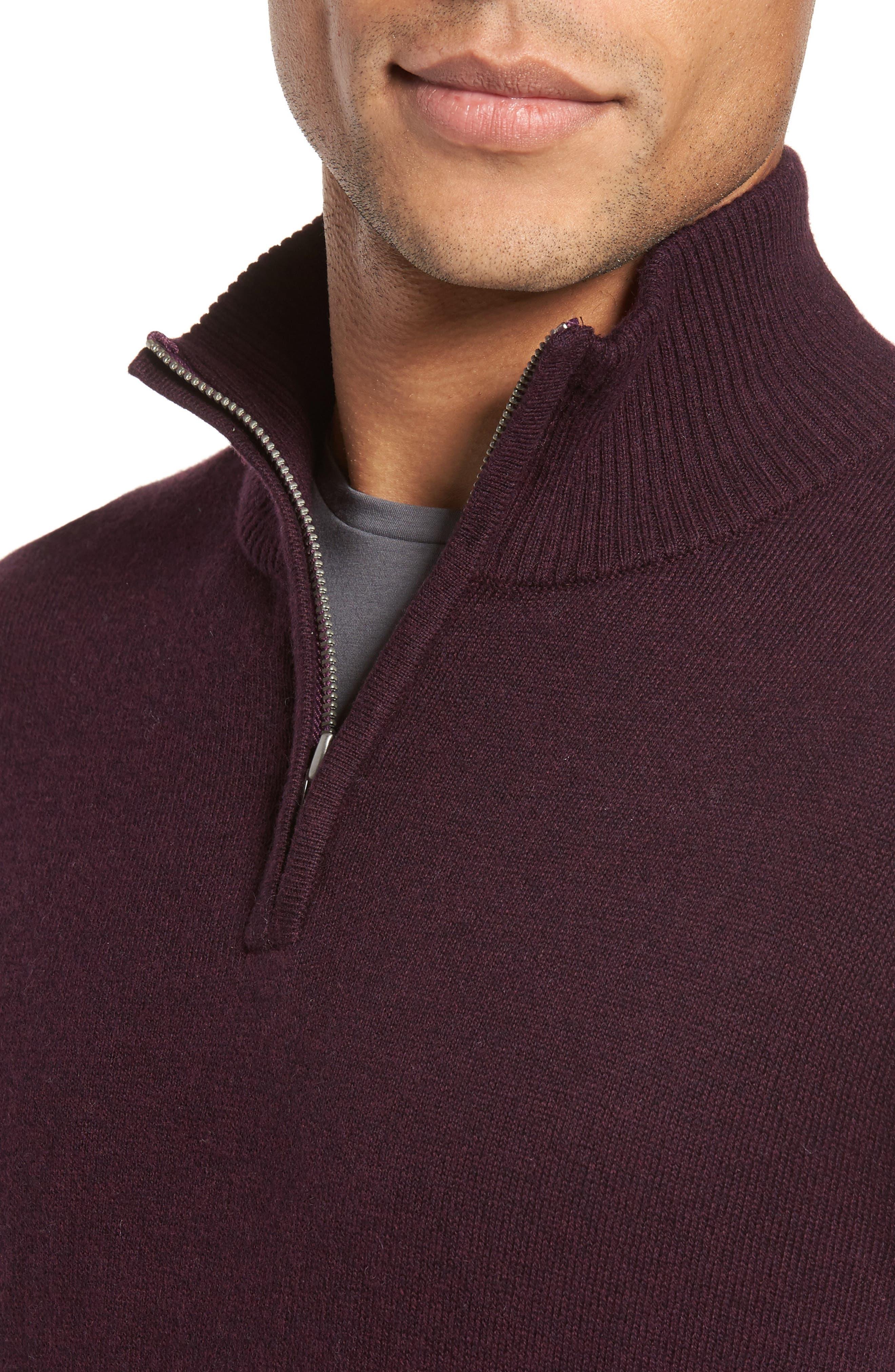 Cotton & Cashmere Quarter Zip Sweater,                             Alternate thumbnail 4, color,                             600