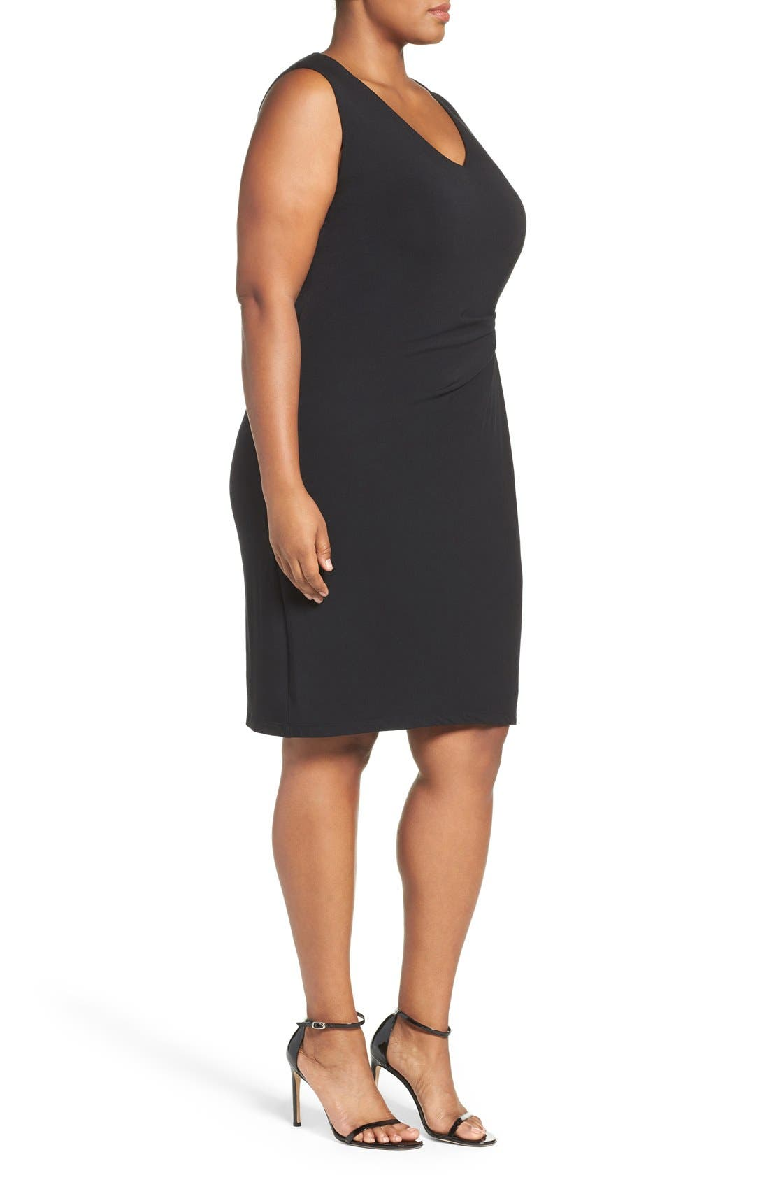 Margaux Twist Front Sheath Dress,                             Alternate thumbnail 3, color,                             001