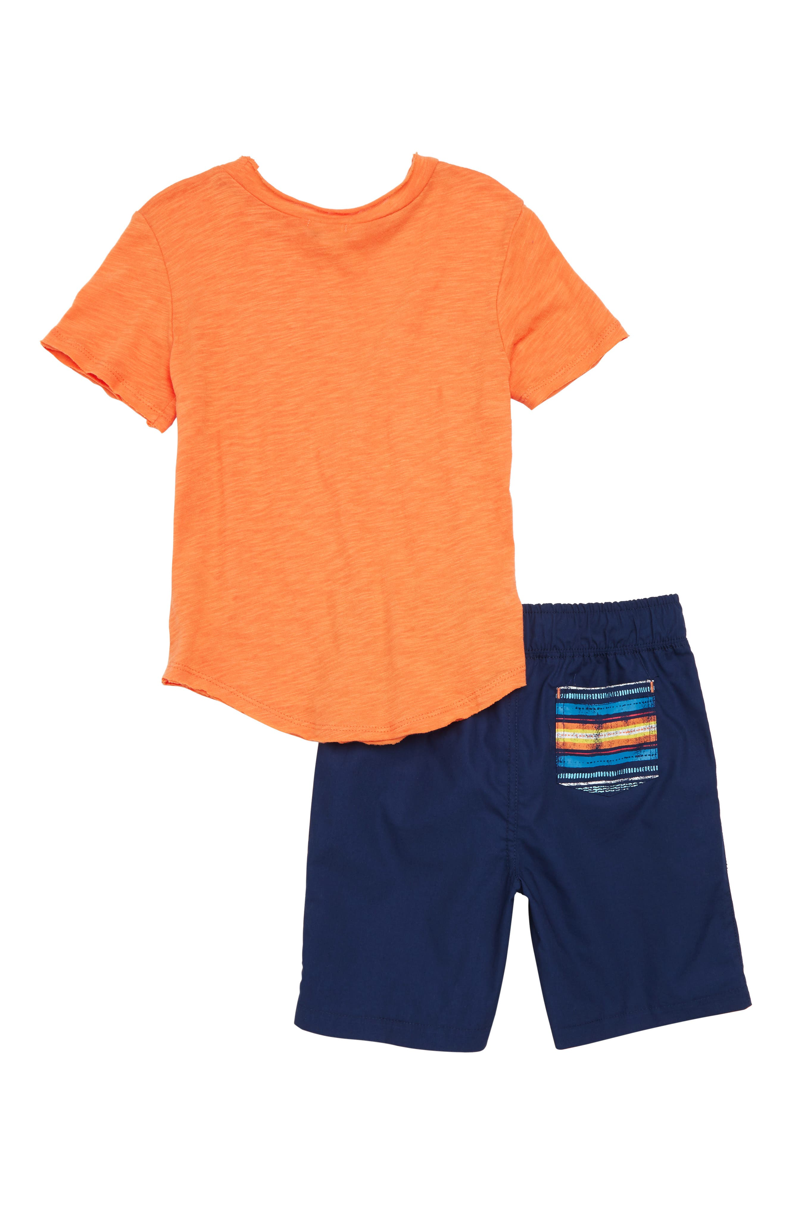 T-Shirt & Stripe Shorts Set,                             Alternate thumbnail 2, color,                             800