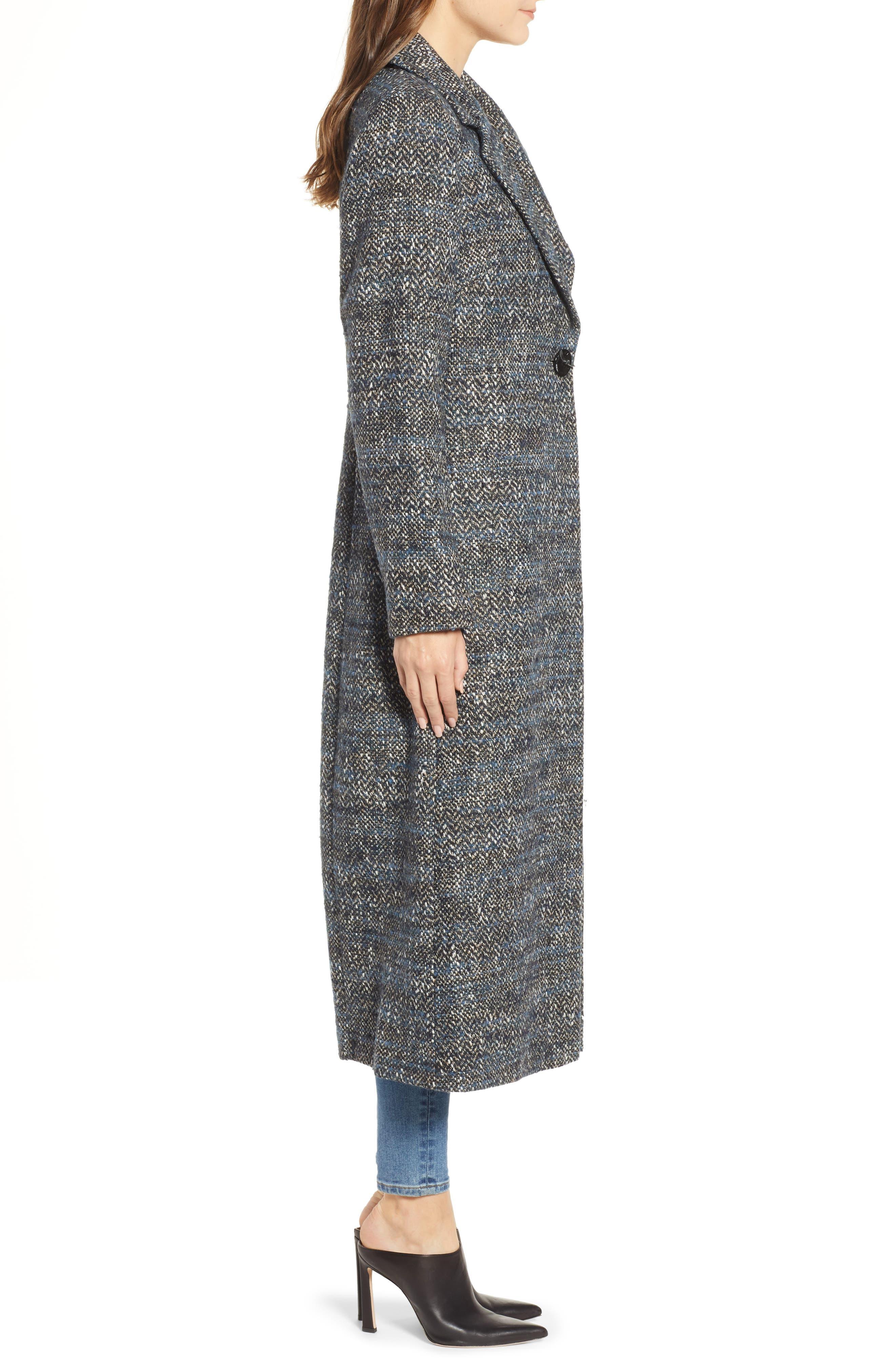 Tweed Reefer Maxi Coat,                             Alternate thumbnail 3, color,                             BLUE TWEED
