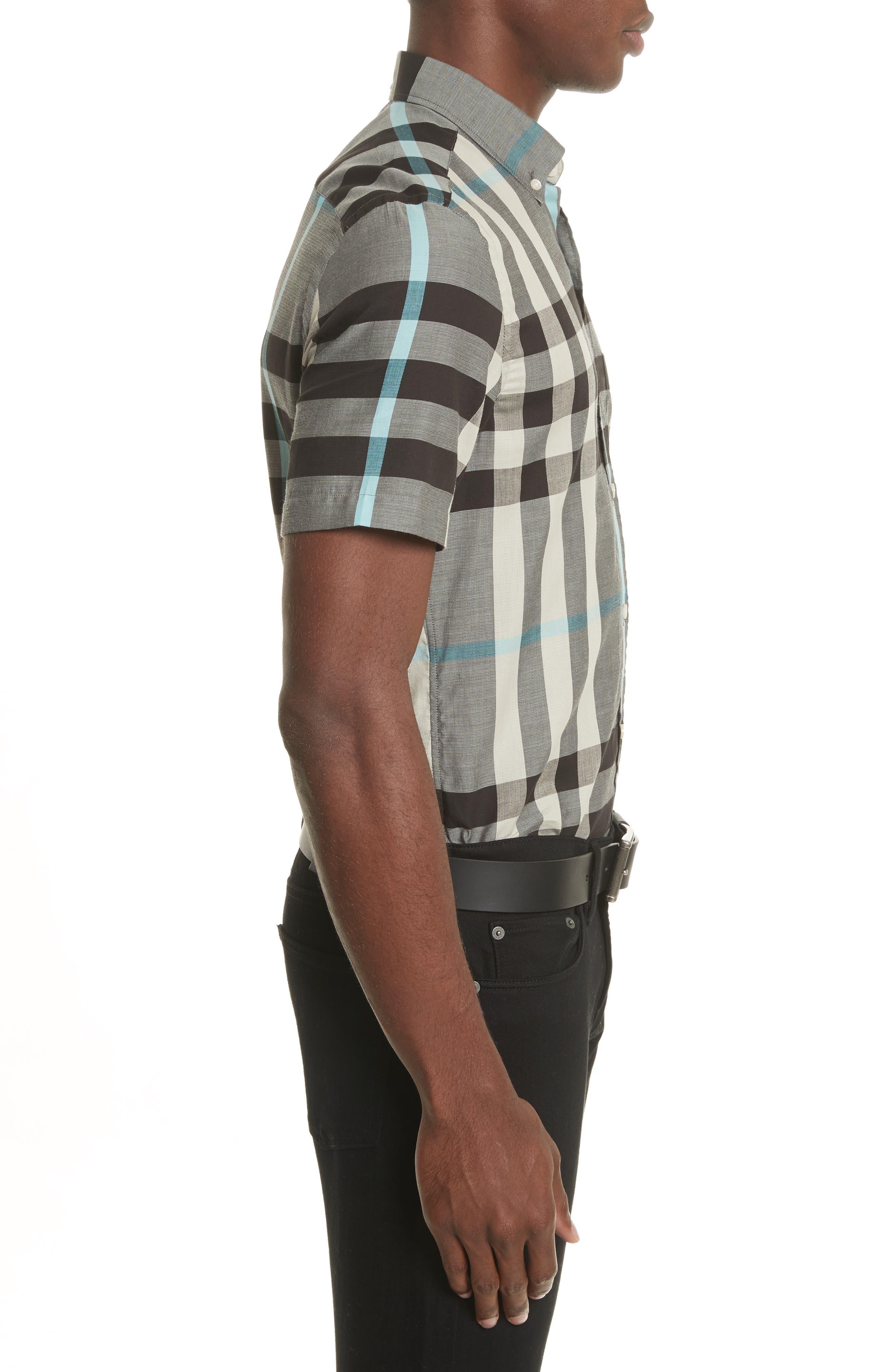 Moore Regular Fit Plaid Short Sleeve Sport Shirt,                             Alternate thumbnail 3, color,                             053