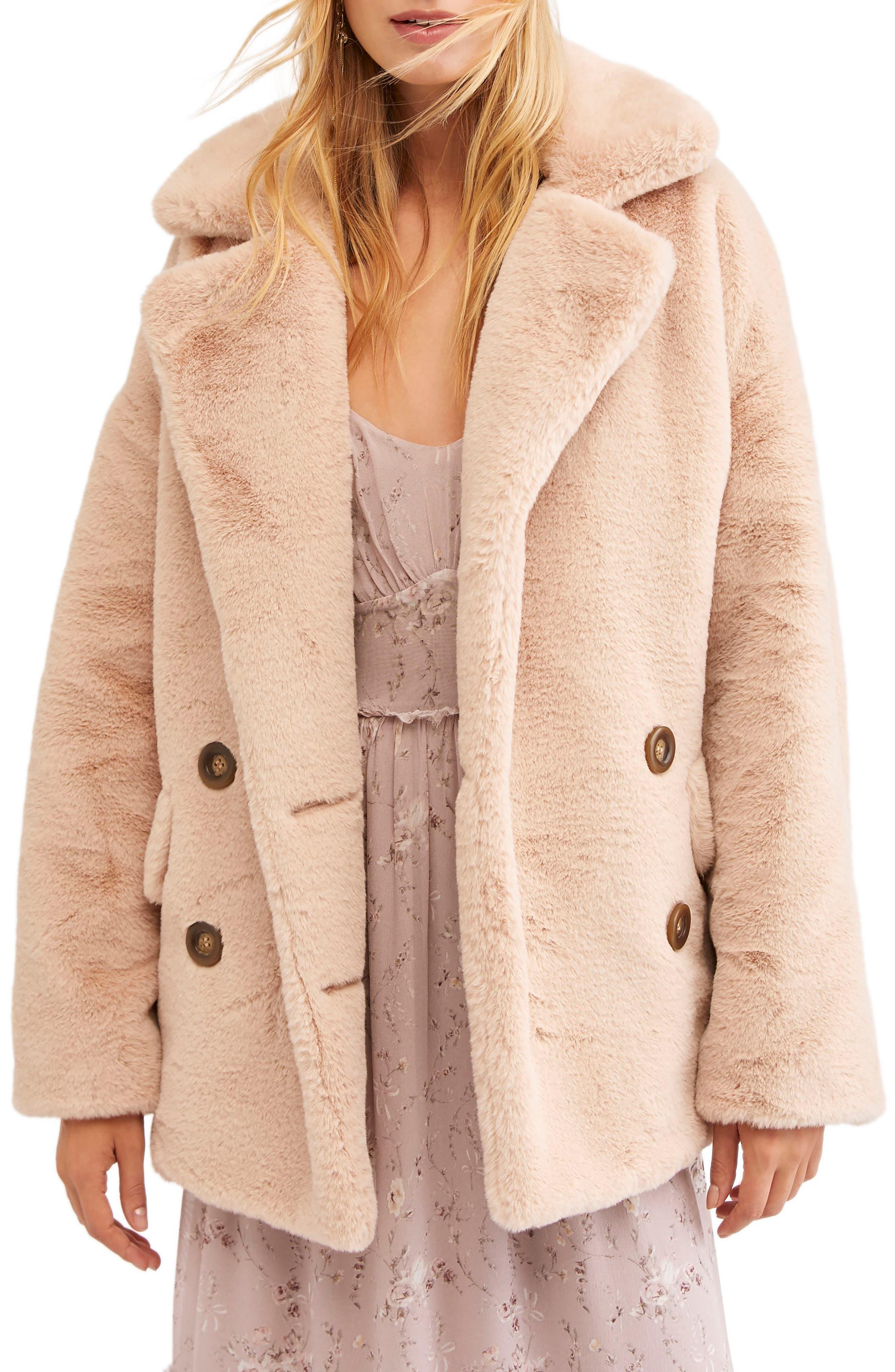 Kate Faux Fur Coat,                             Main thumbnail 1, color,                             ROSE
