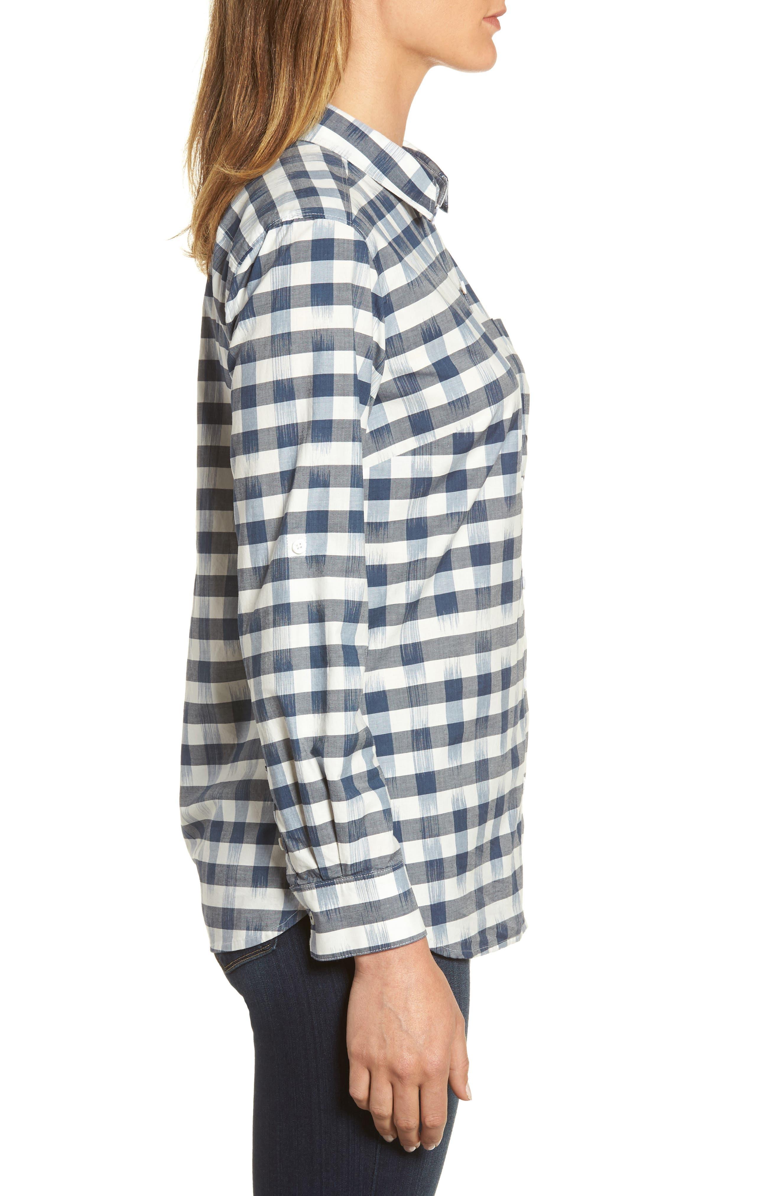 Fragmented Gingham Shirt,                             Alternate thumbnail 3, color,                             400