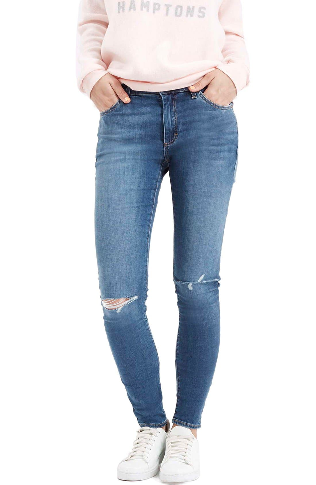 Moto 'Leigh' Ripped Skinny Jeans, Main, color, 400