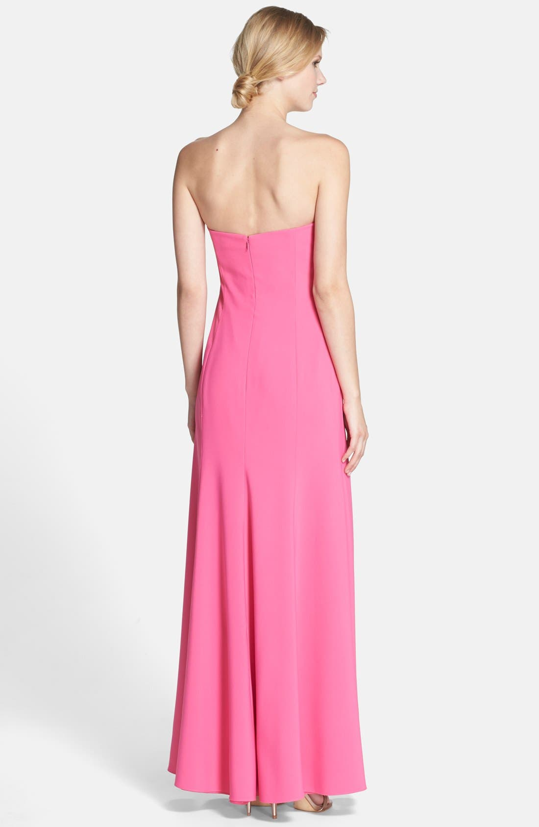 Strapless Crepe Trumpet Gown,                             Alternate thumbnail 12, color,