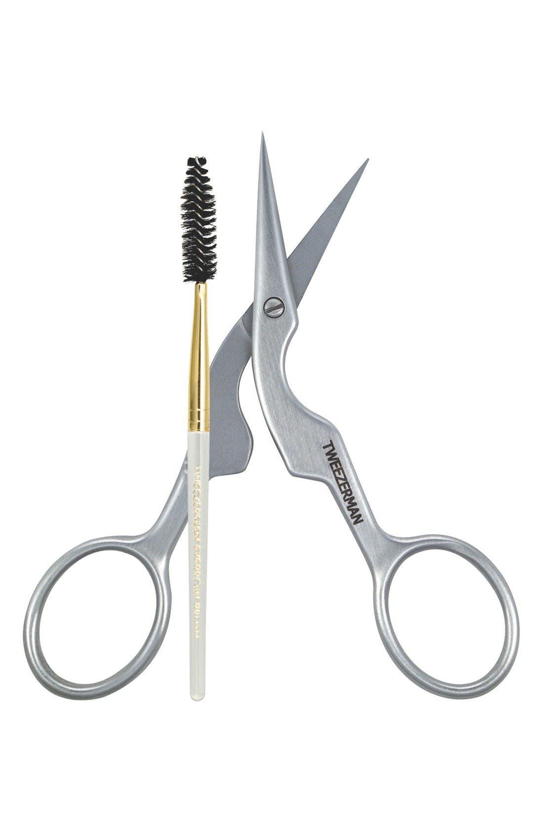 TWEEZERMAN,                             Brow Shaping Scissors & Brush,                             Main thumbnail 1, color,                             NO COLOR