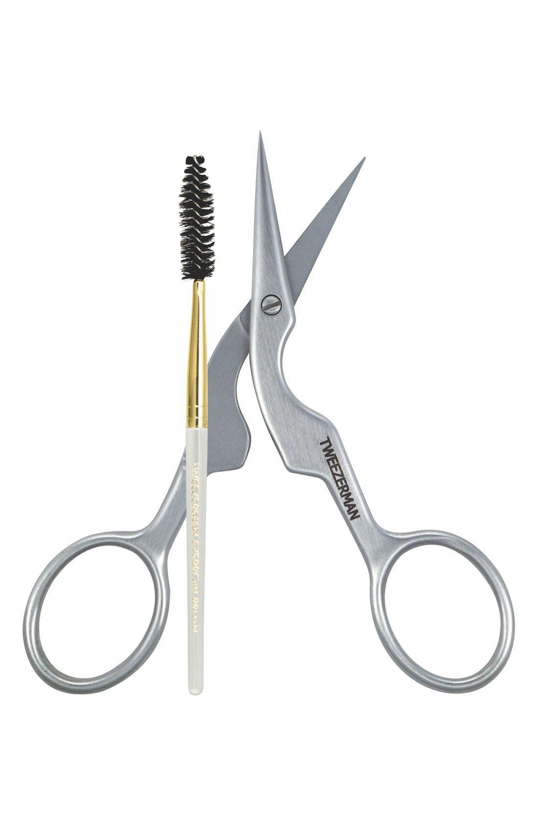 TWEEZERMAN Brow Shaping Scissors & Brush, Main, color, NO COLOR