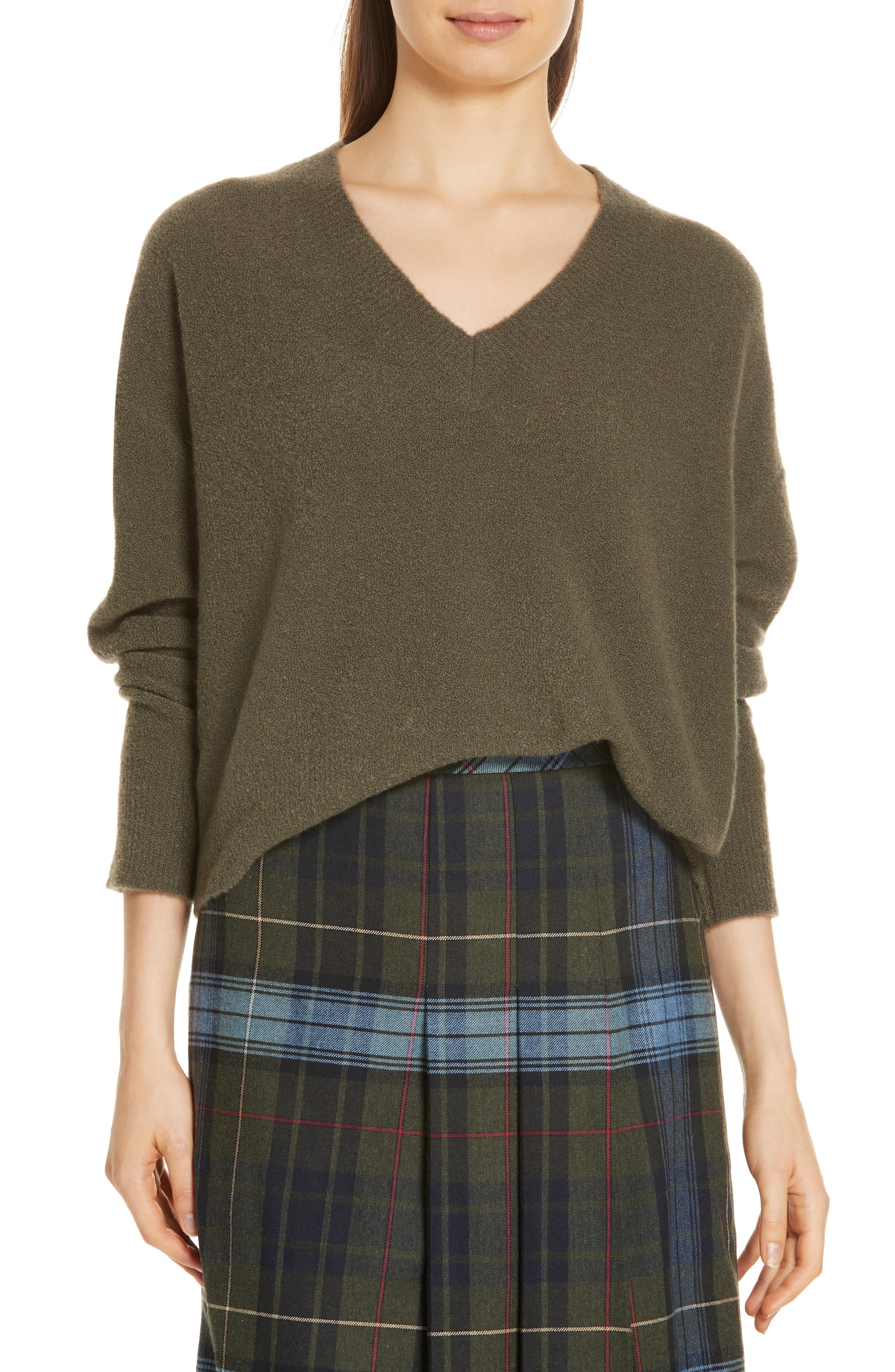Cashmere Blend Bouclé Sweater,                             Main thumbnail 1, color,                             OLIVE IVY HEATHER