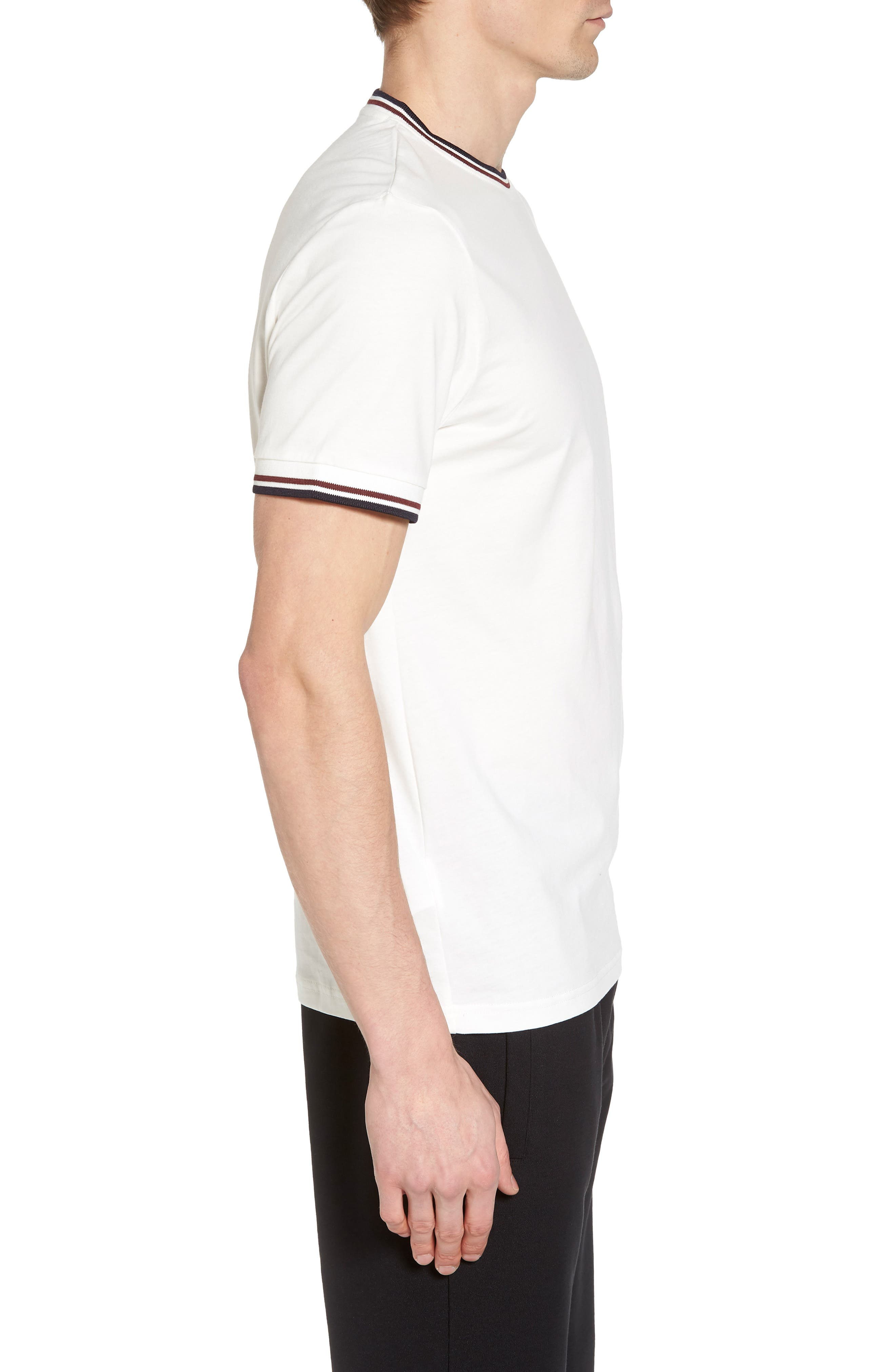 FRED PERRY,                             Tipped T-Shirt,                             Alternate thumbnail 3, color,                             100