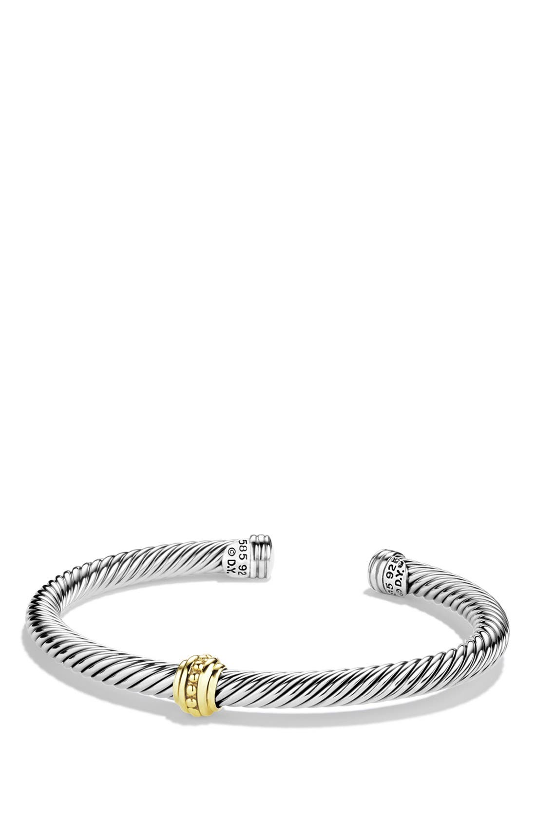 'Cable Classics' One-Station Bracelet with Gold, Main, color, 040