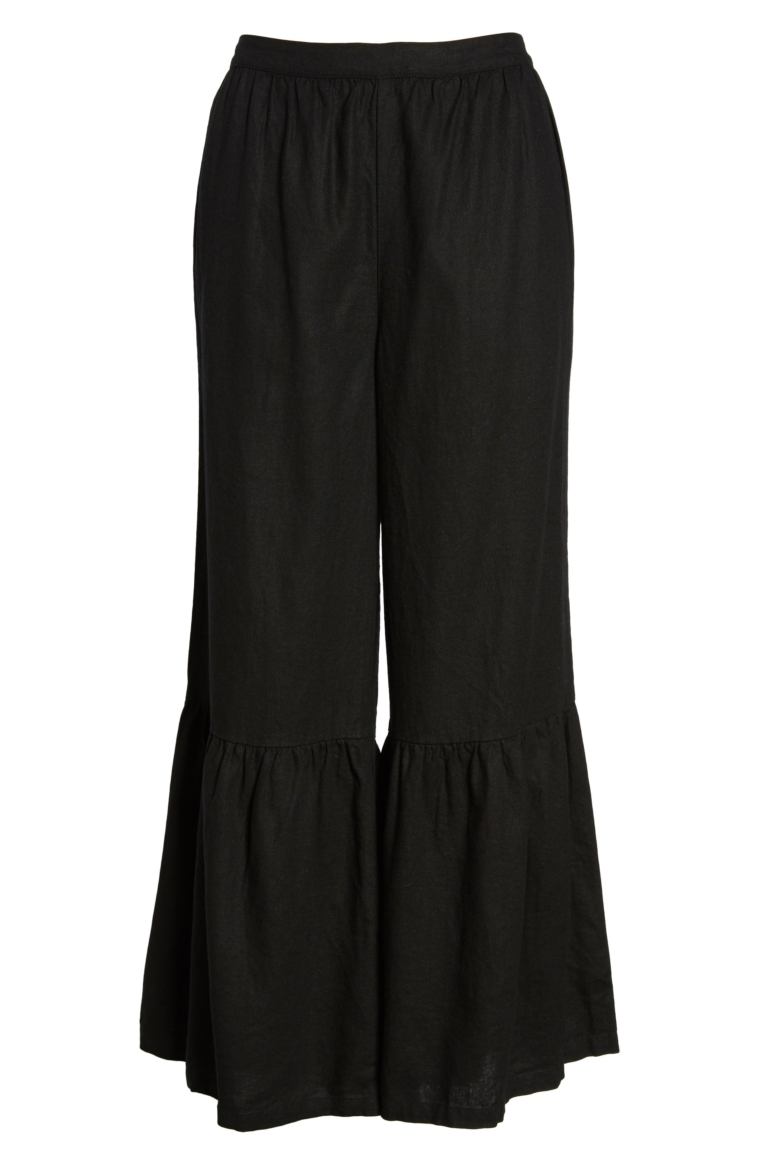 Ruffle Hem Linen Blend Crop Pants,                             Alternate thumbnail 7, color,                             001