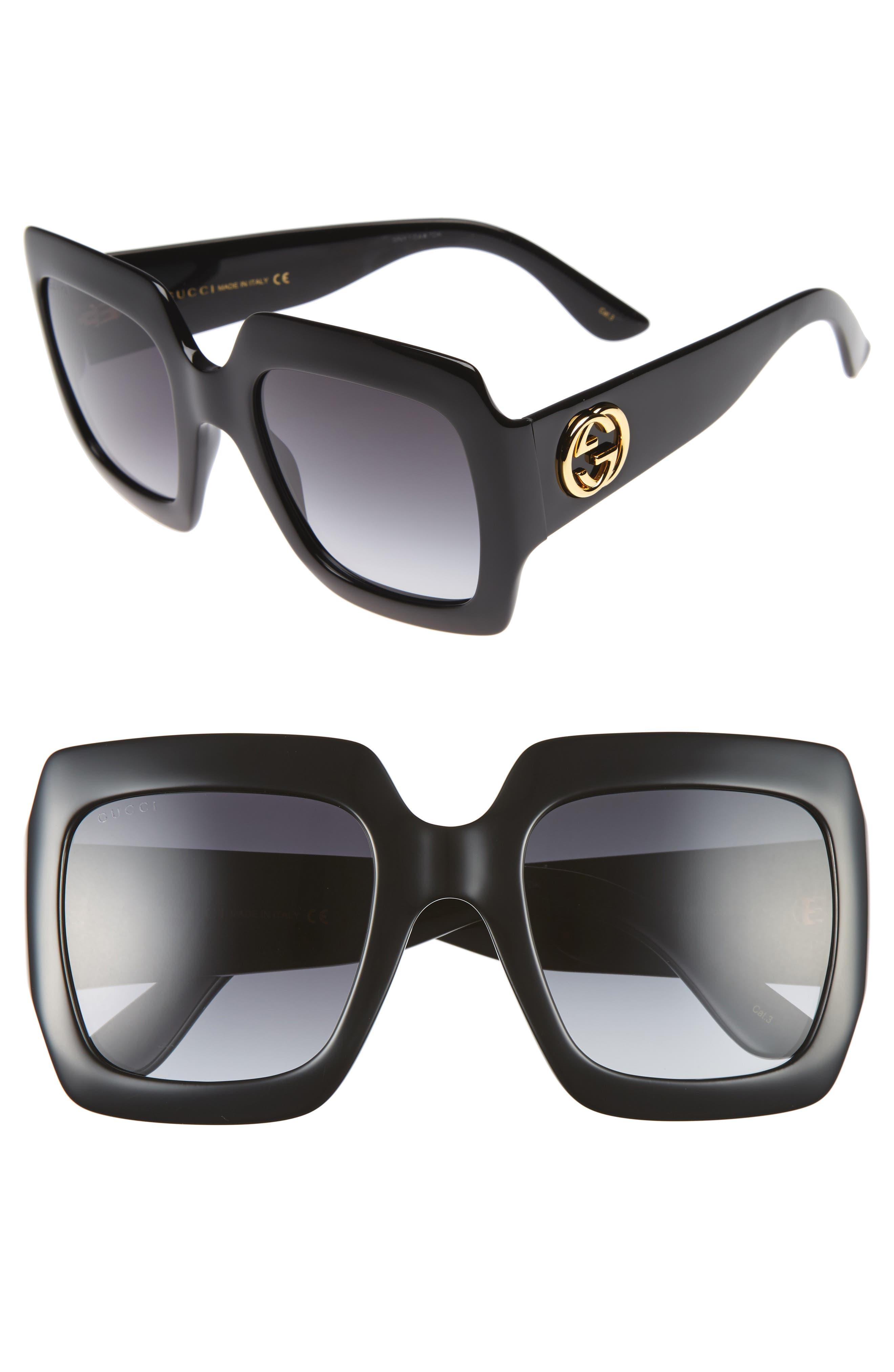 54mm Square Sunglasses,                             Main thumbnail 1, color,                             BLACK/ GREY