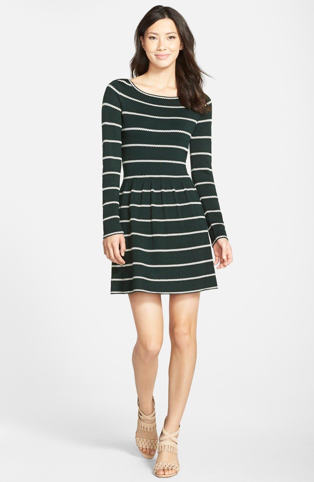 Stripe Fit & Flare Sweater Dress,                             Alternate thumbnail 3, color,                             310
