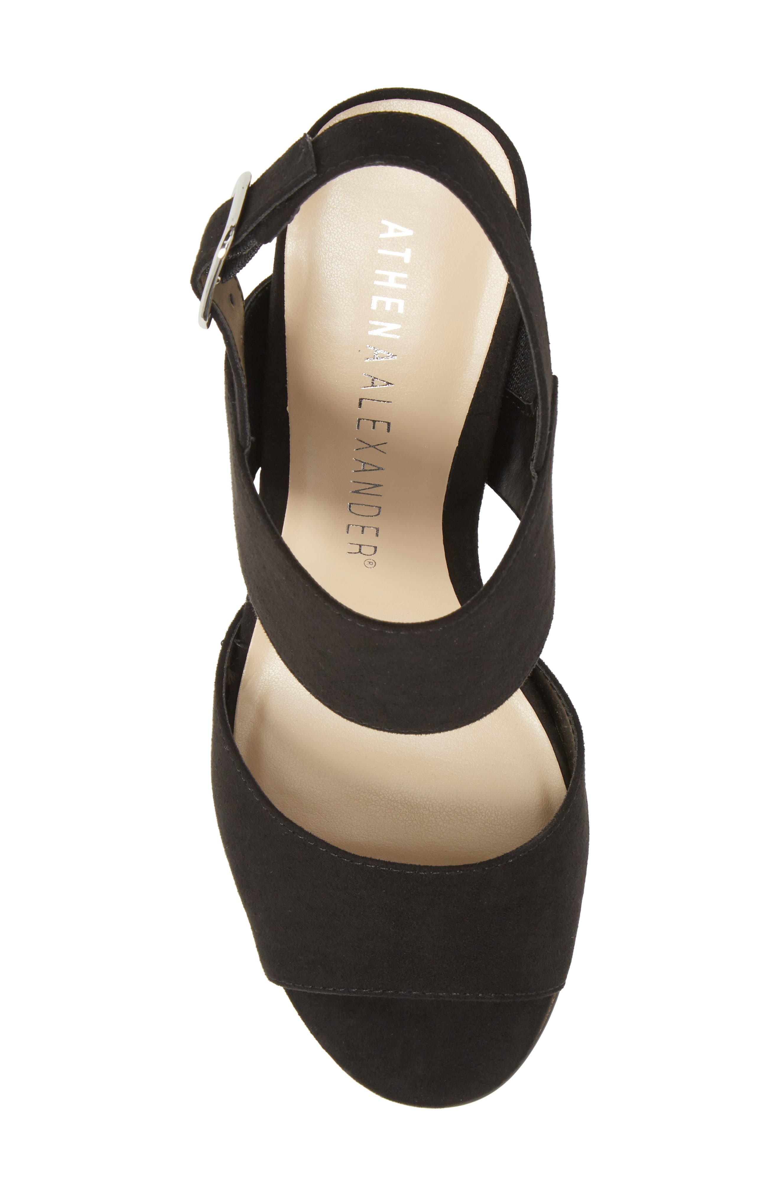 Slayte Wedge Sandal,                             Alternate thumbnail 5, color,                             BLACK FAUX SUEDE