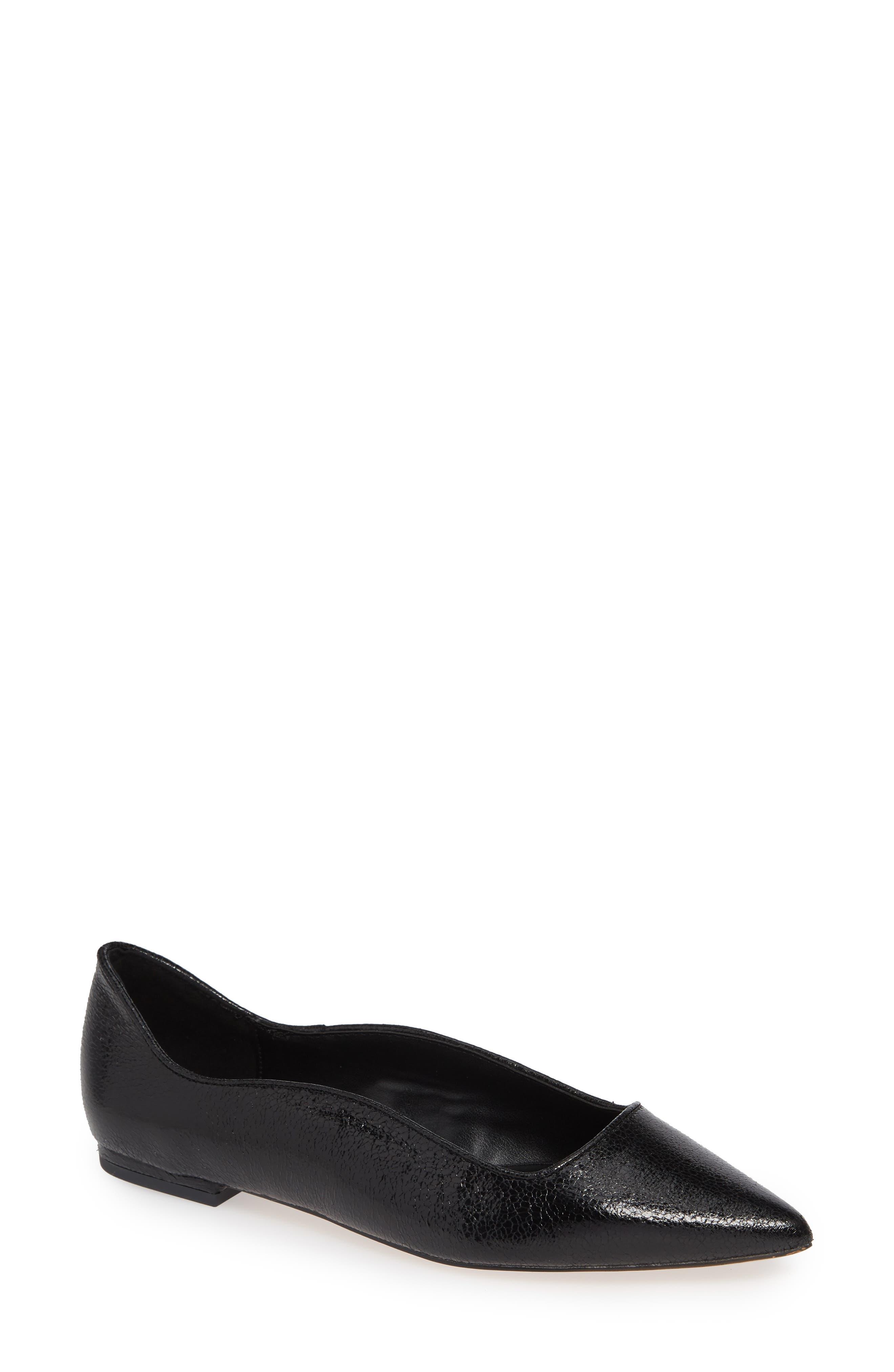Nikita Pointy Toe Flat, Main, color, BLACK