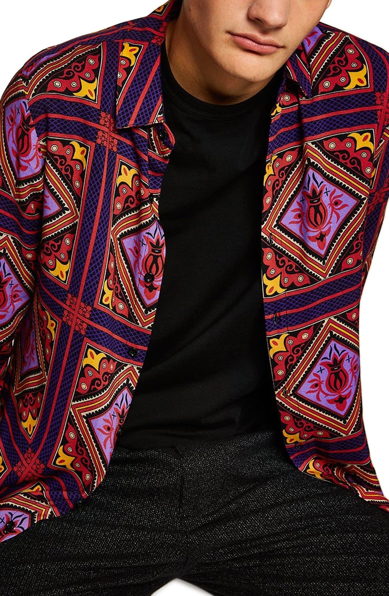 Tile Classic Fit Shirt,                         Main,                         color, PURPLE MULTI
