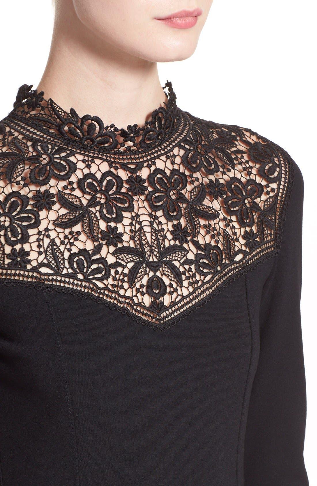'Rieko' Lace Inset Jersey Dress,                             Alternate thumbnail 3, color,                             001