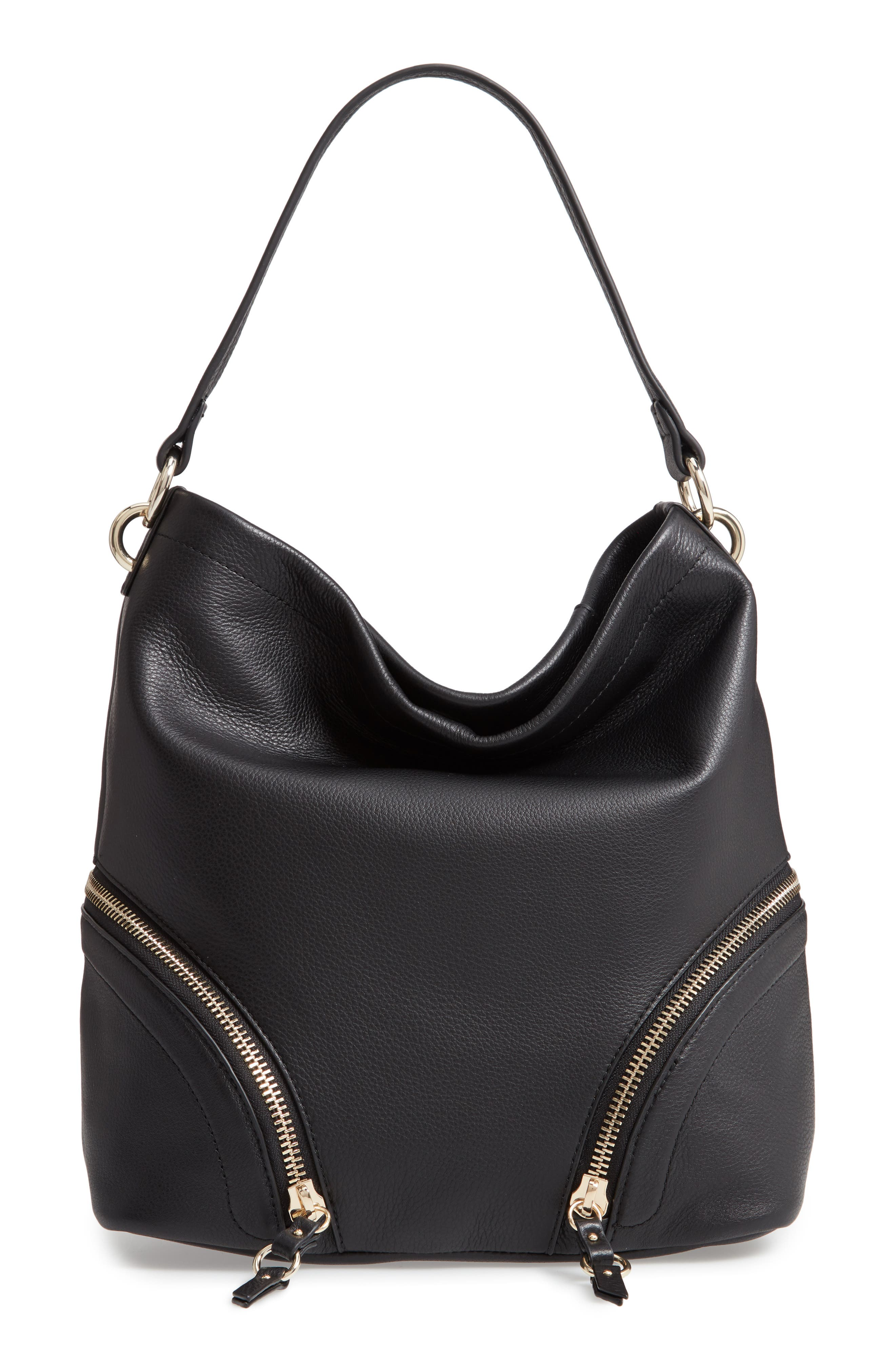Katja Leather Hobo,                         Main,                         color, BLACK